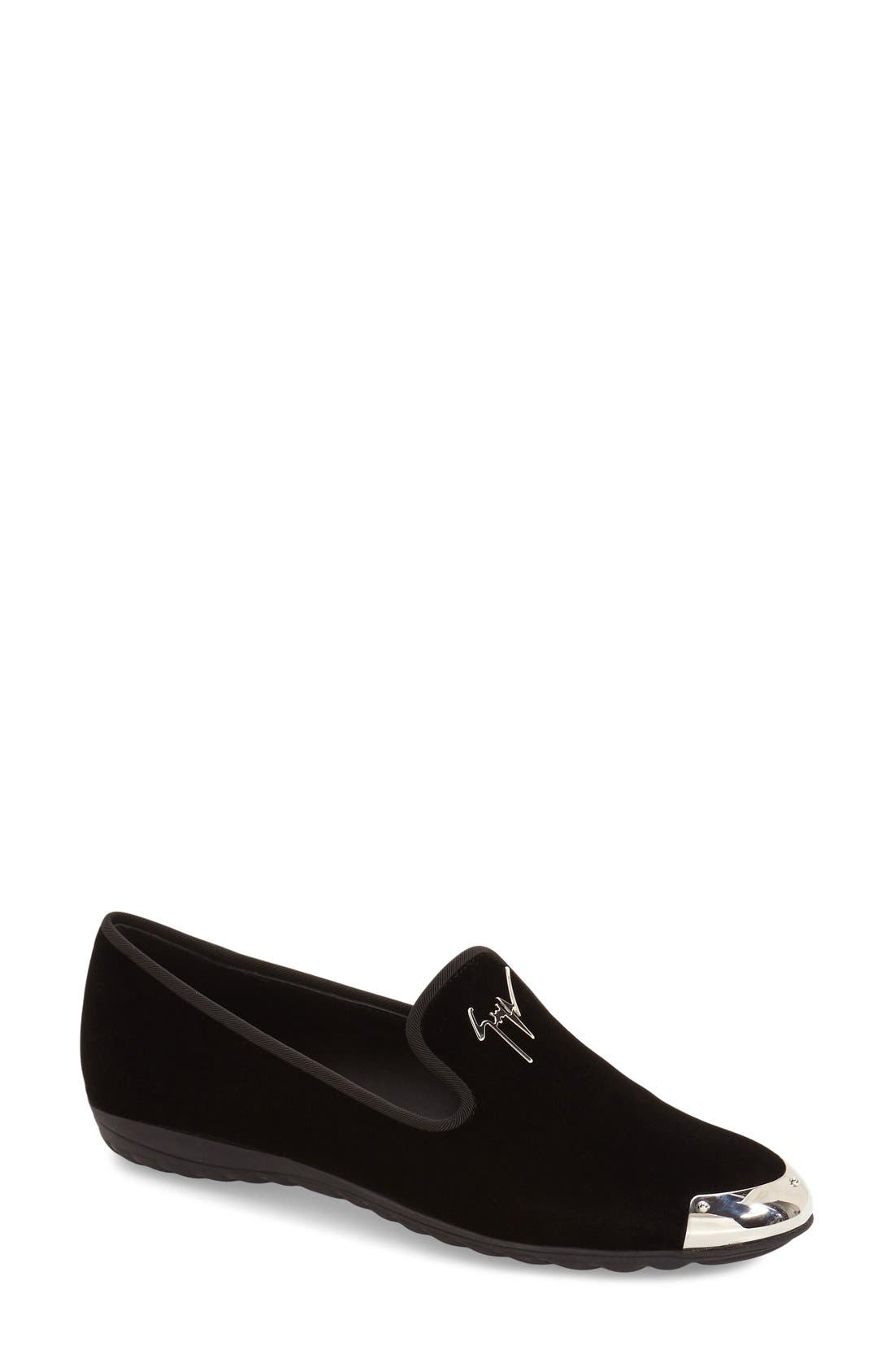 Giuseppe Zanotti 'Dalila' Metallic Toe Velour Loafer (Women) (Nordstrom Exclusive)