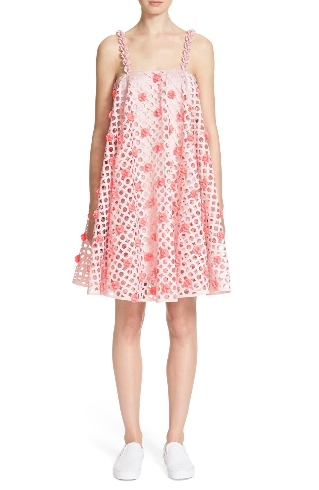 Laser Cut Trapeze Dress,                         Main,                         color, Ashy Pink/ Acid Pink