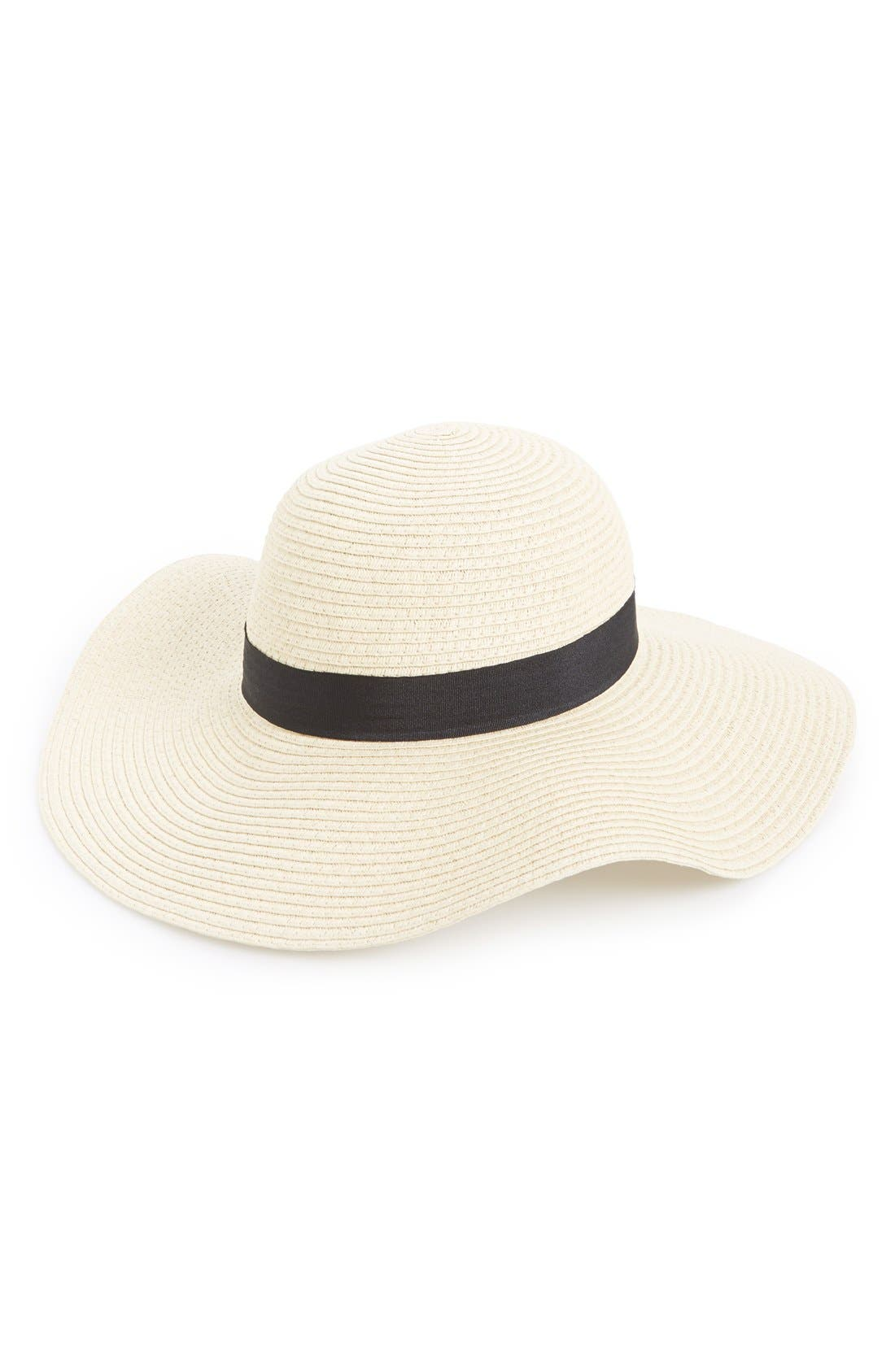 Floppy Straw Hat,                             Main thumbnail 1, color,                             Natural