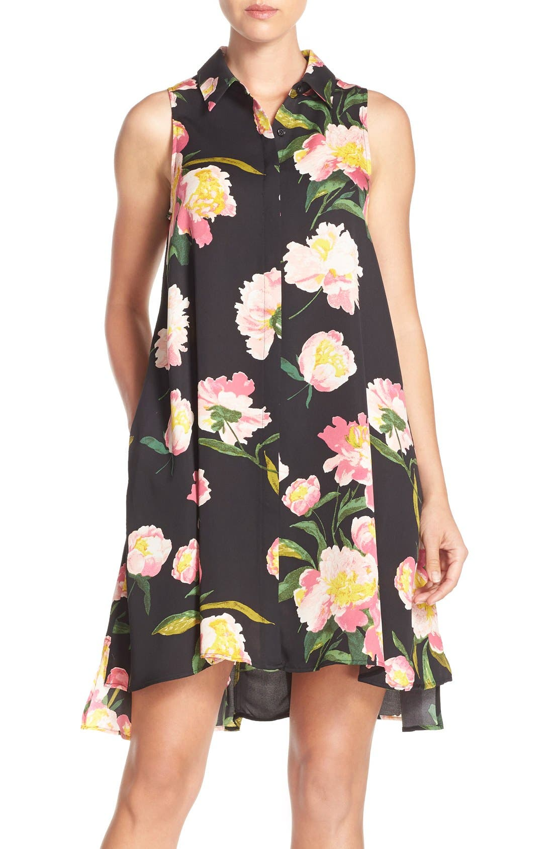 Alternate Image 1 Selected - Adrianna Papell Floral Crêpe de Chine Shirtdress