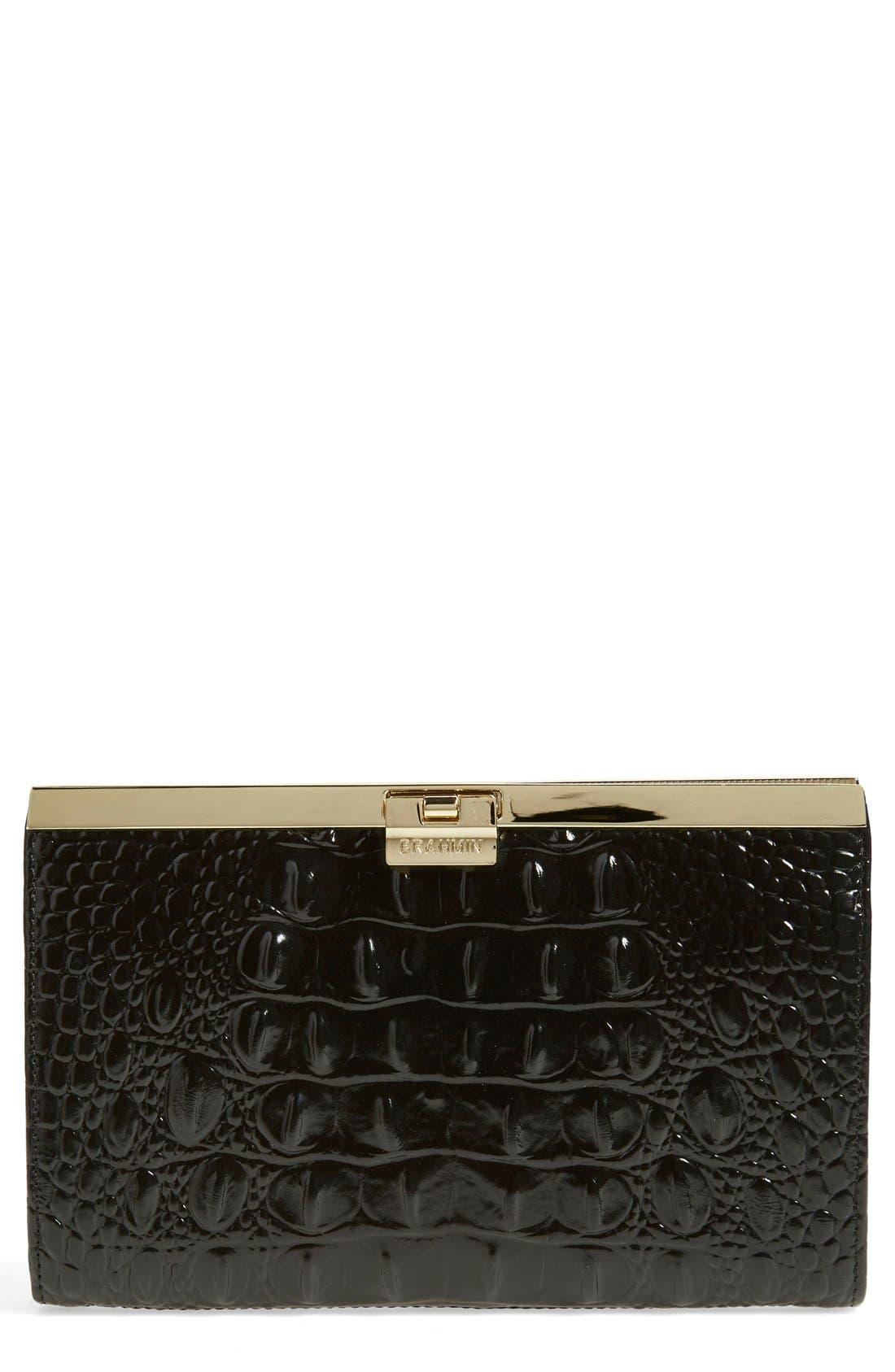 'Tillie' Croc Embossed Leather Clutch,                             Main thumbnail 1, color,                             Onyx