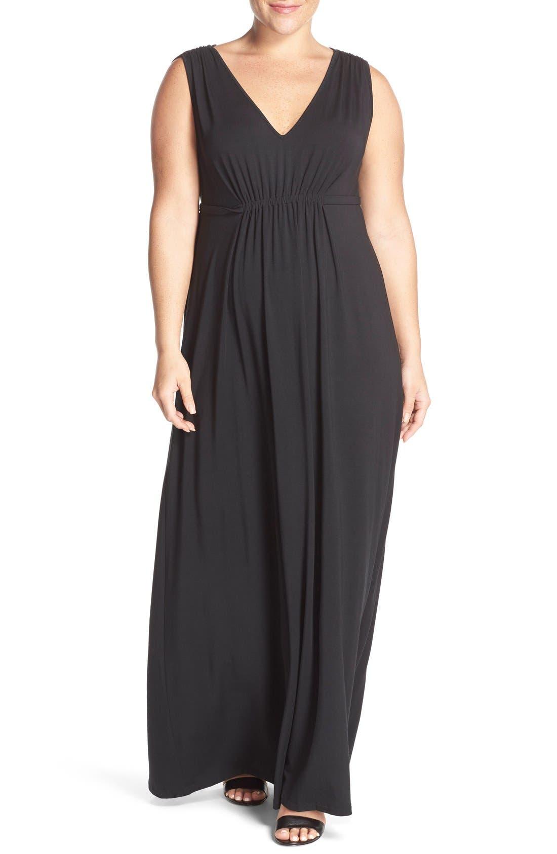 Grecia Sleeveless Jersey Maxi Dress,                             Main thumbnail 1, color,                             Black