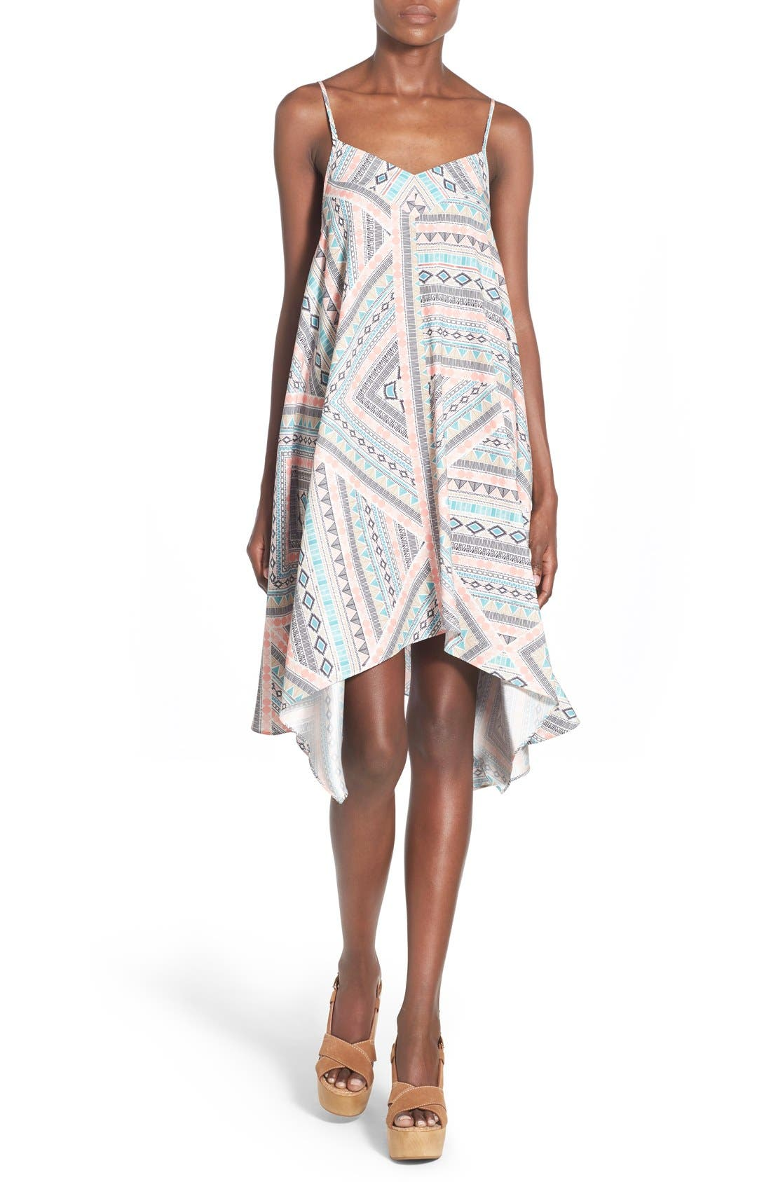 Main Image - devlin 'Tracy' Geo Print Handkerchief High/Low Dress