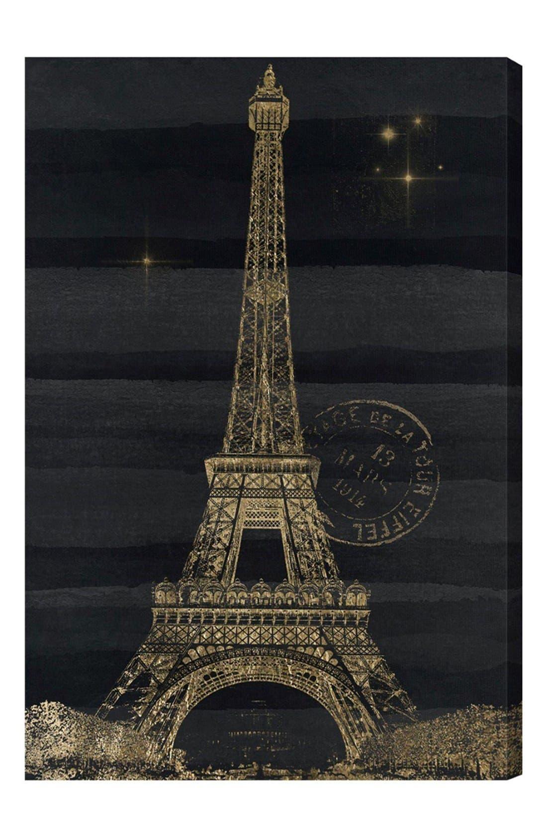 'Eiffel Night' Canvas Wall Art,                             Main thumbnail 1, color,                             Black