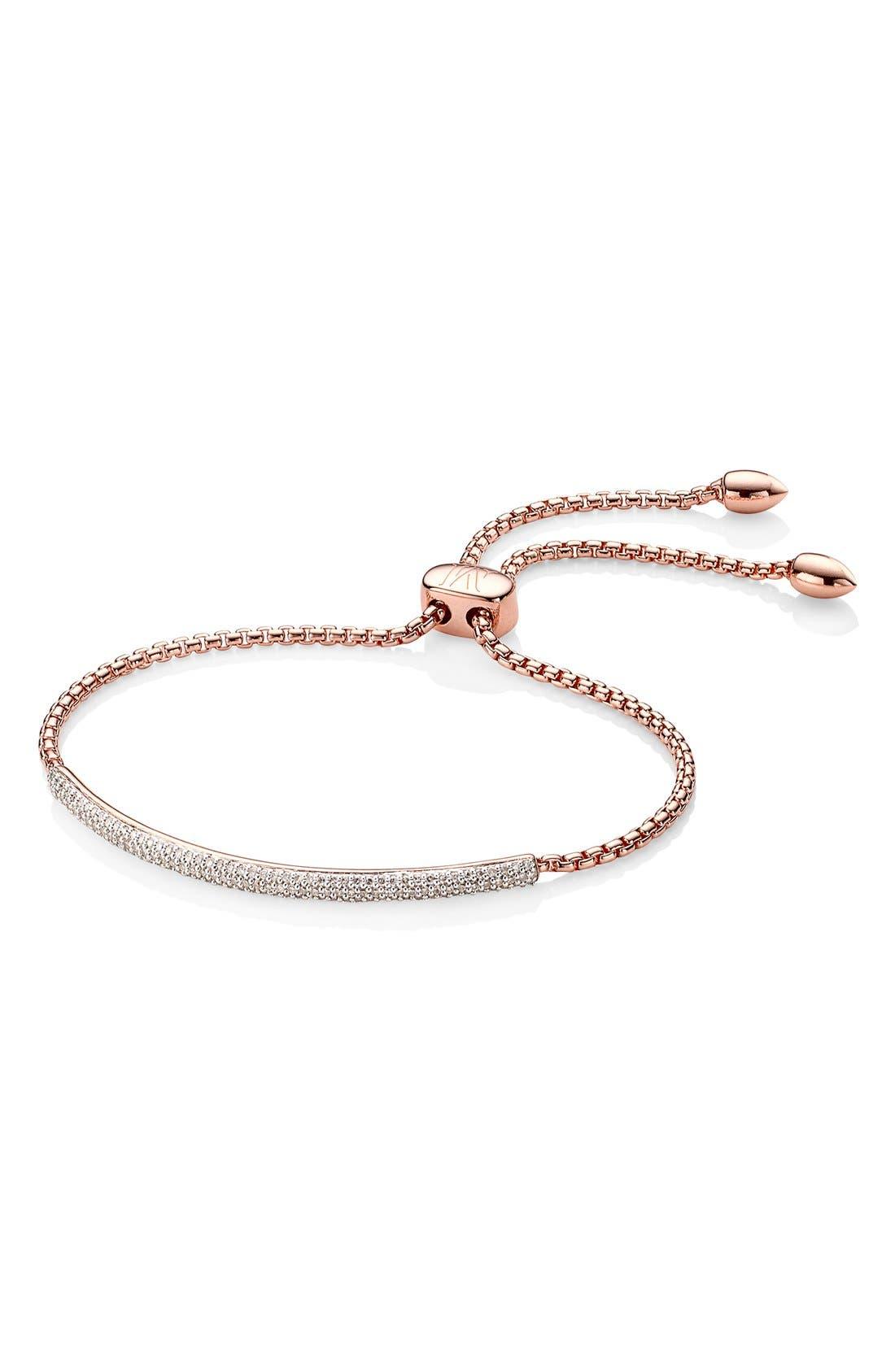 Stellar Pavé Diamond Mini Bar Bracelet,                         Main,                         color, Rose Gold