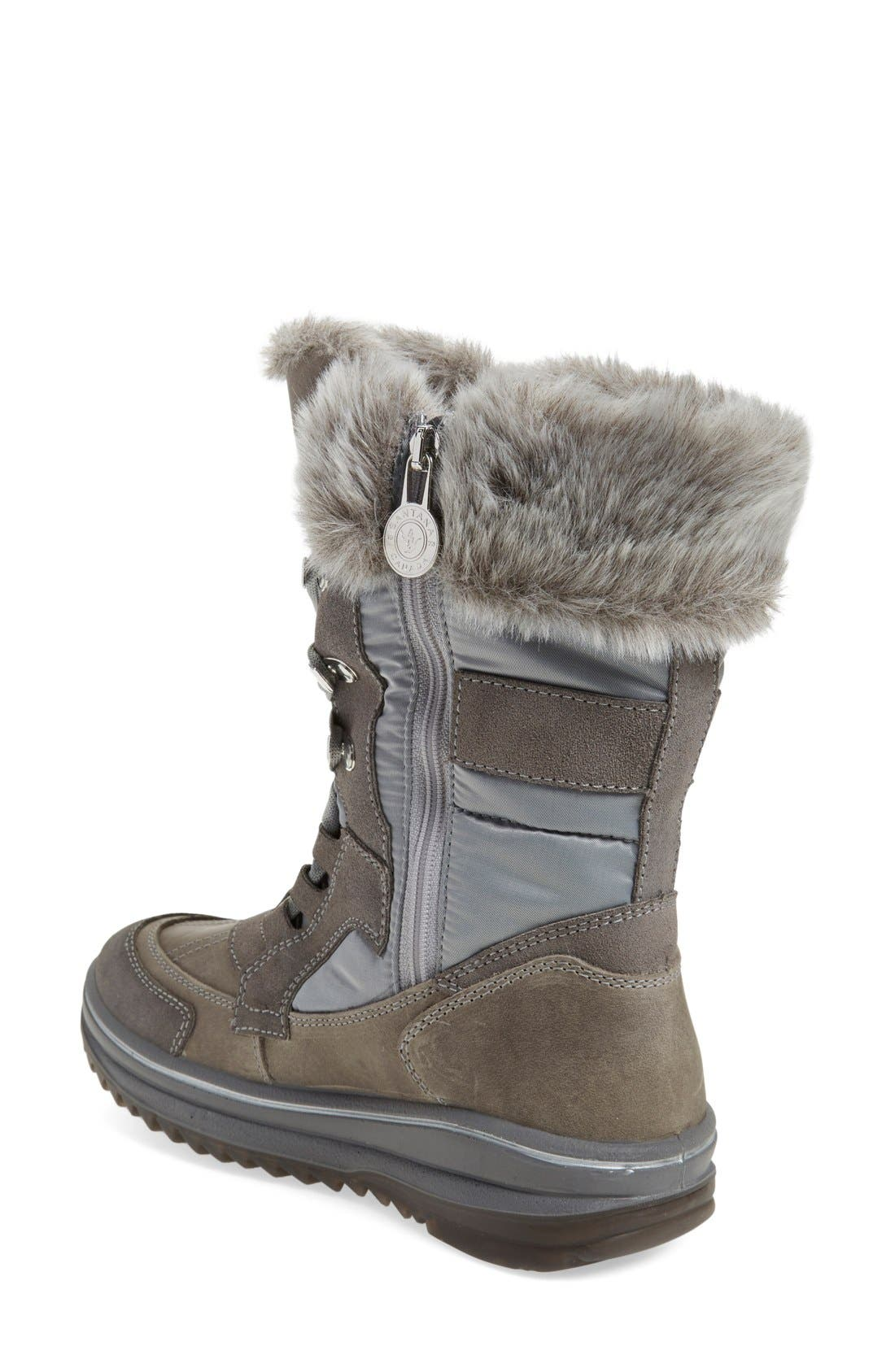 'Marta' Water Resistant Insulated Winter Boot,                             Alternate thumbnail 2, color,                             Grey Fabric