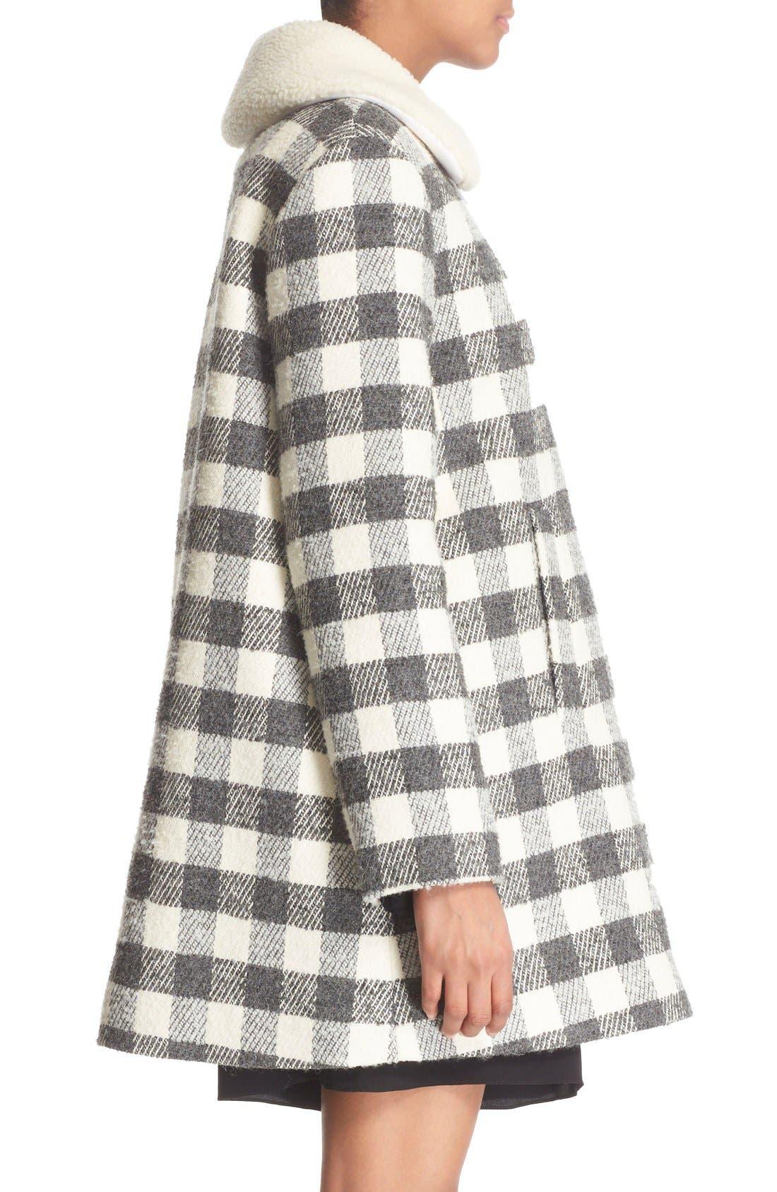 Alternate Image 4  - See by Chloé Faux Shearling Trim Buffalo Plaid Coat