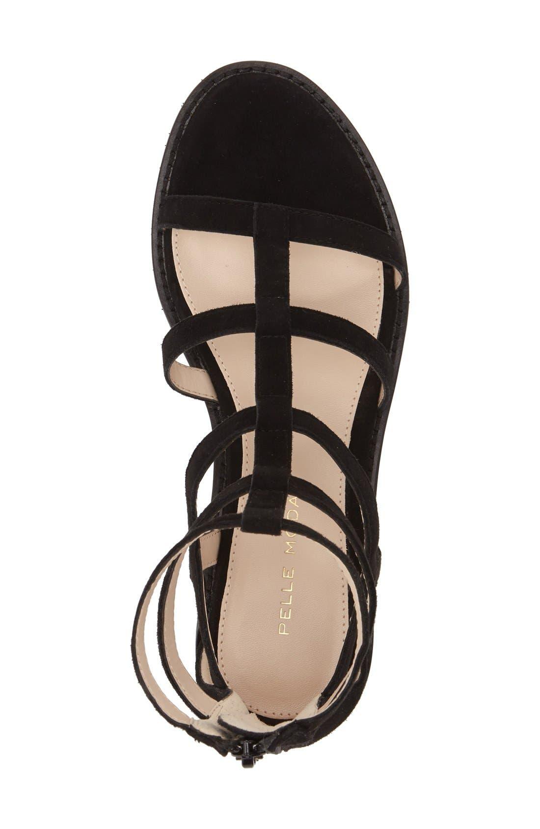 'Helen' Flat Gladiator Sandal,                             Alternate thumbnail 3, color,                             Black Leather