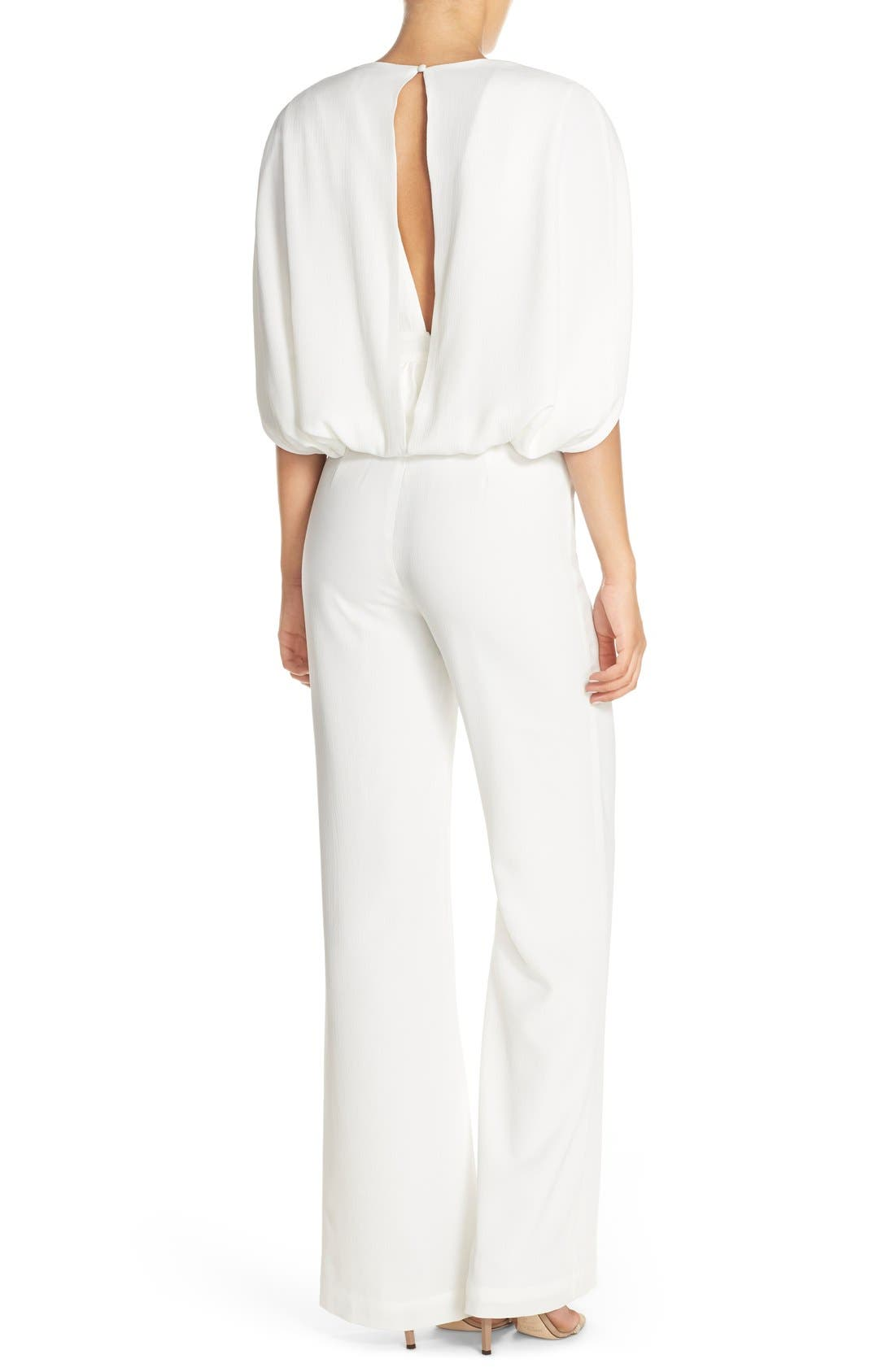 'Olympia' Cape Sleeve Jumpsuit,                             Alternate thumbnail 2, color,                             Ivory