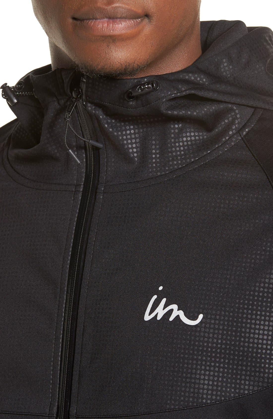'Realm' Waterproof Bonded Zip Hoodie,                             Alternate thumbnail 4, color,                             Black