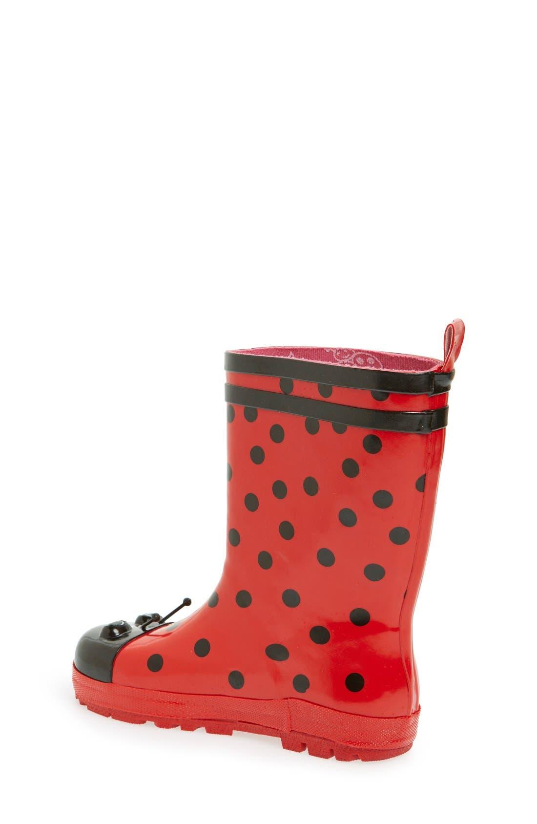 'Ladybug' Waterproof Rain Boot,                             Alternate thumbnail 2, color,                             Red
