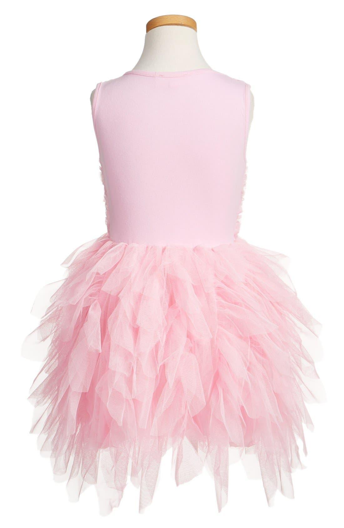 Ribbon Rosette Sleeveless Tulle Dress,                             Alternate thumbnail 2, color,                             Pink