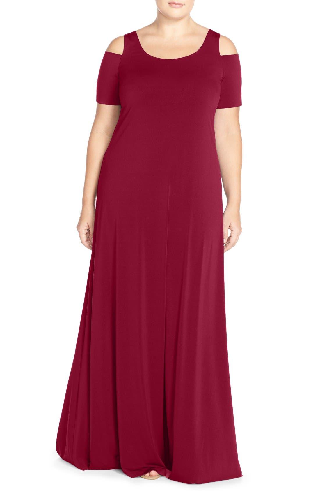 Cold Shoulder Maxi Dress,                         Main,                         color, Tibetan Red