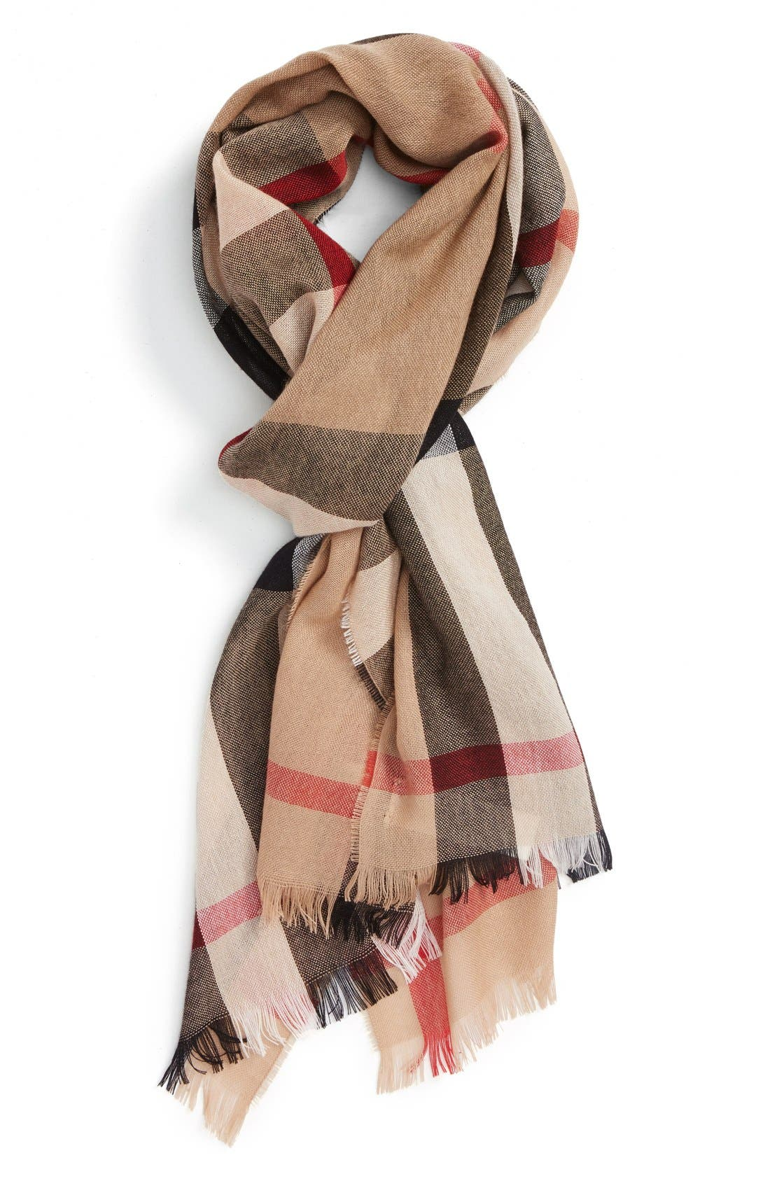 Check Wool & Cashmere Scarf,                             Main thumbnail 1, color,                             Camel