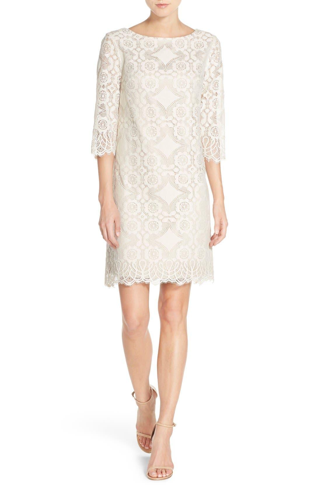 Eliza J Lace Shift Dress (Regular & Petite)