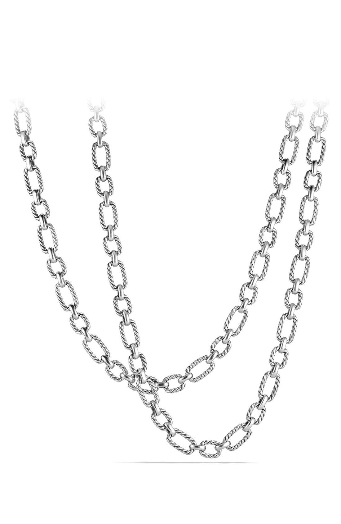 'Chain' Long Cushion Link Necklace with Blue Sapphires,                         Main,                         color, Silver