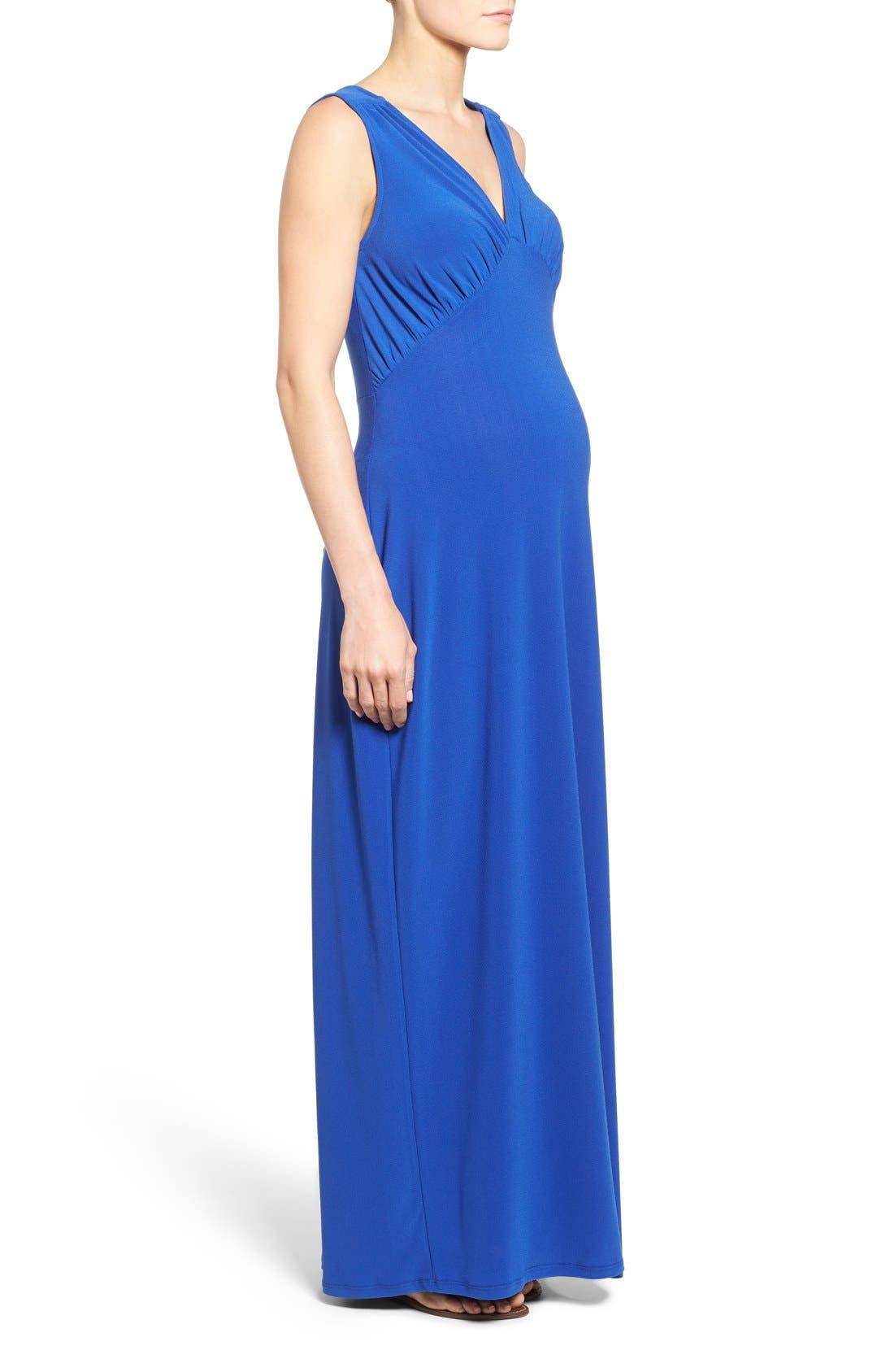 'Isabella' V-Neck Maternity Maxi Dress,                             Alternate thumbnail 3, color,                             Cobalt Crepe