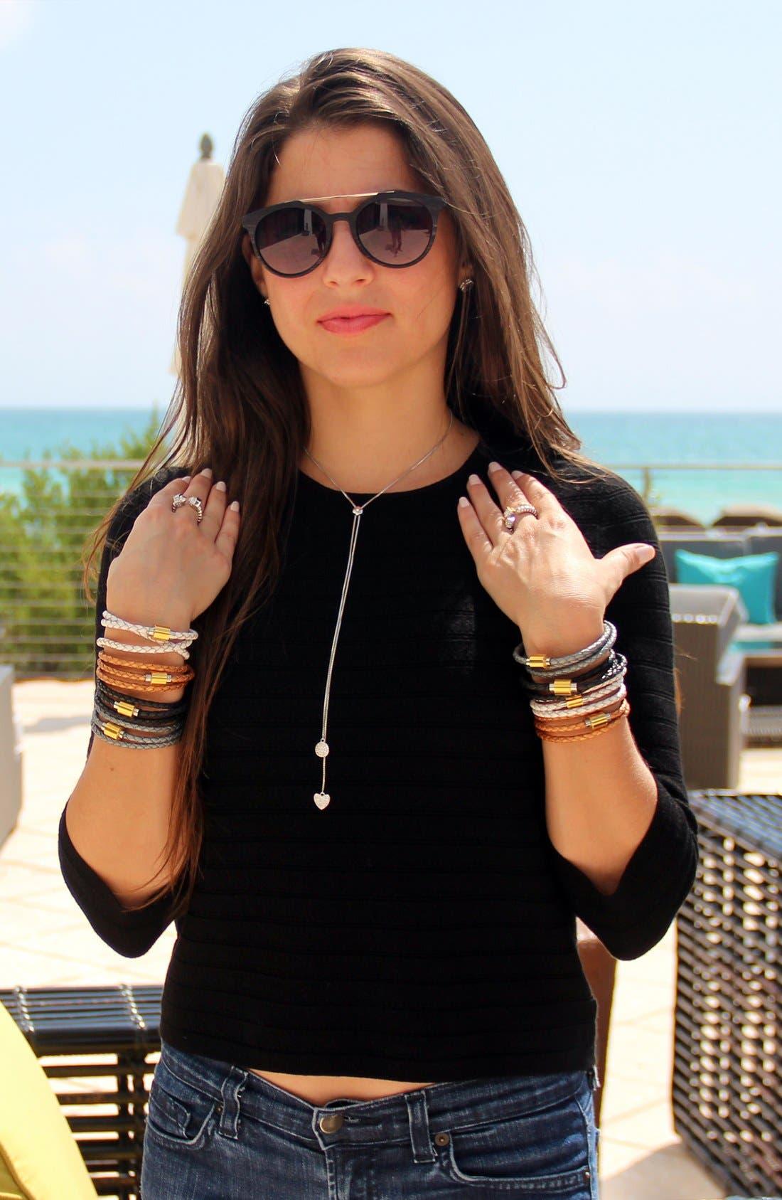 'SOBE Original' Braided Leather Wrap Bracelet,                             Alternate thumbnail 2, color,                             Silver