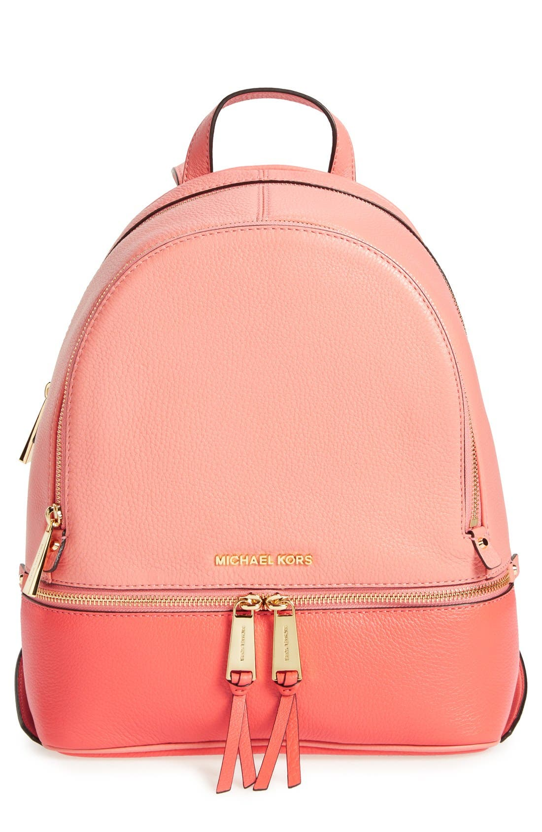 Alternate Image 1 Selected - MICHAEL Michael Kors 'Small Rhea' Colorblock Leather Backpack