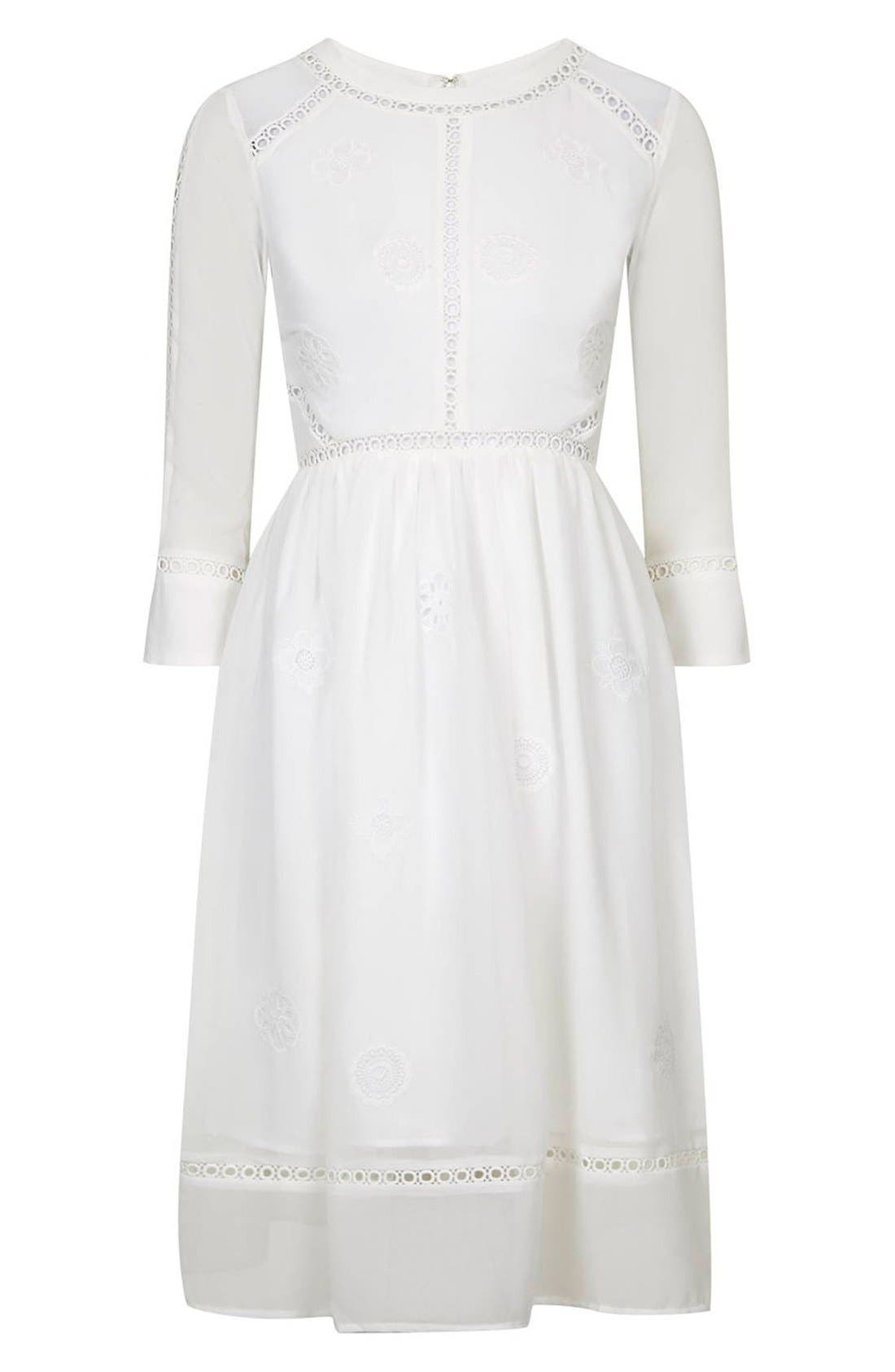 Alternate Image 4  - Topshop 'Puritan' Cutwork Midi Dress