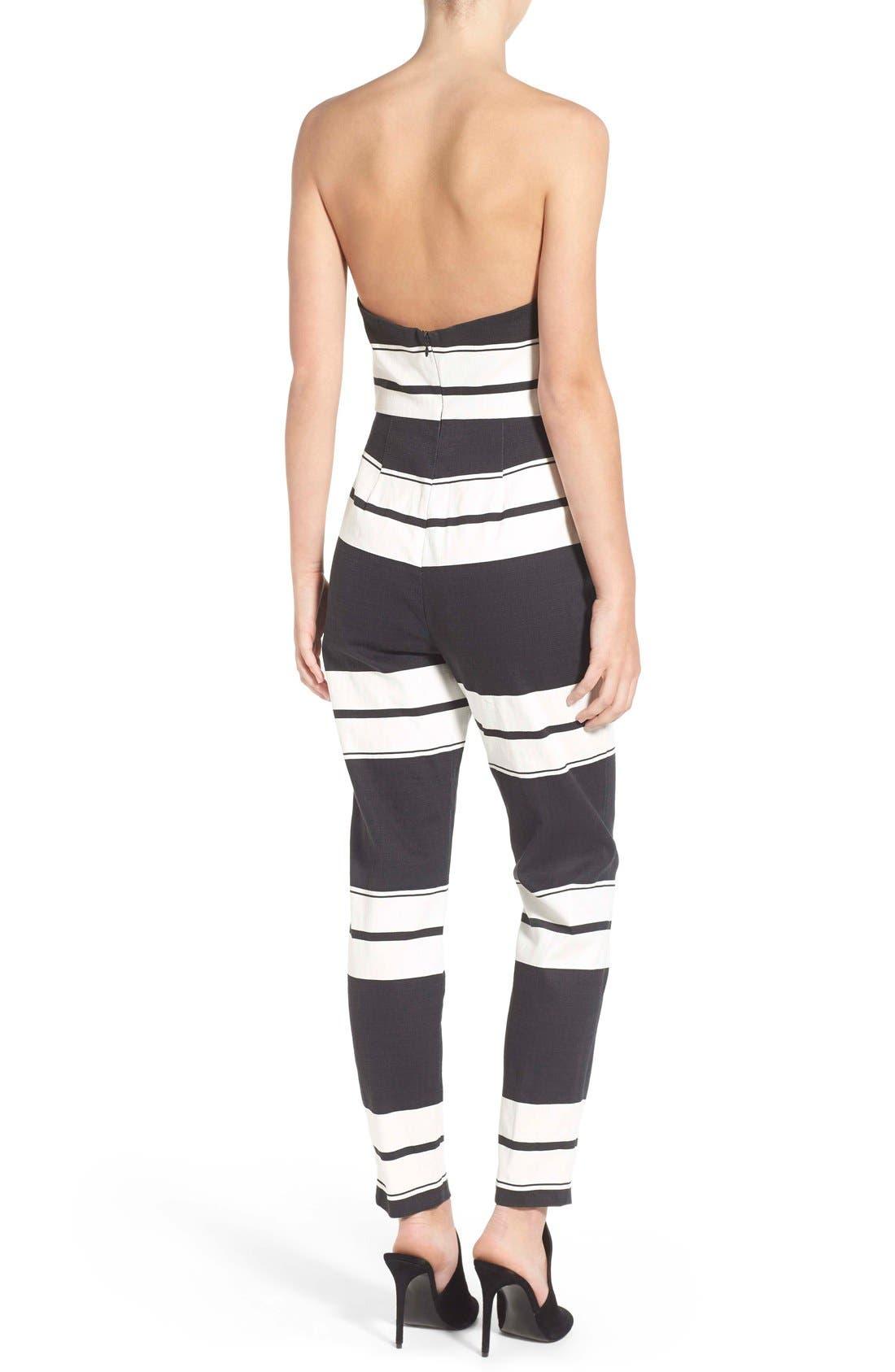 Alternate Image 2  - KENDALL + KYLIE Stripe Strapless Jumpsuit