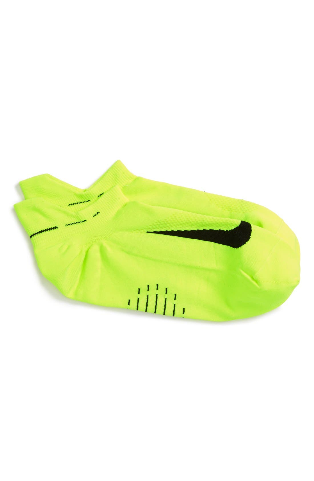 'Elite' Lightweight No-Show Tab Running Socks,                             Main thumbnail 1, color,                             Volt/ Black