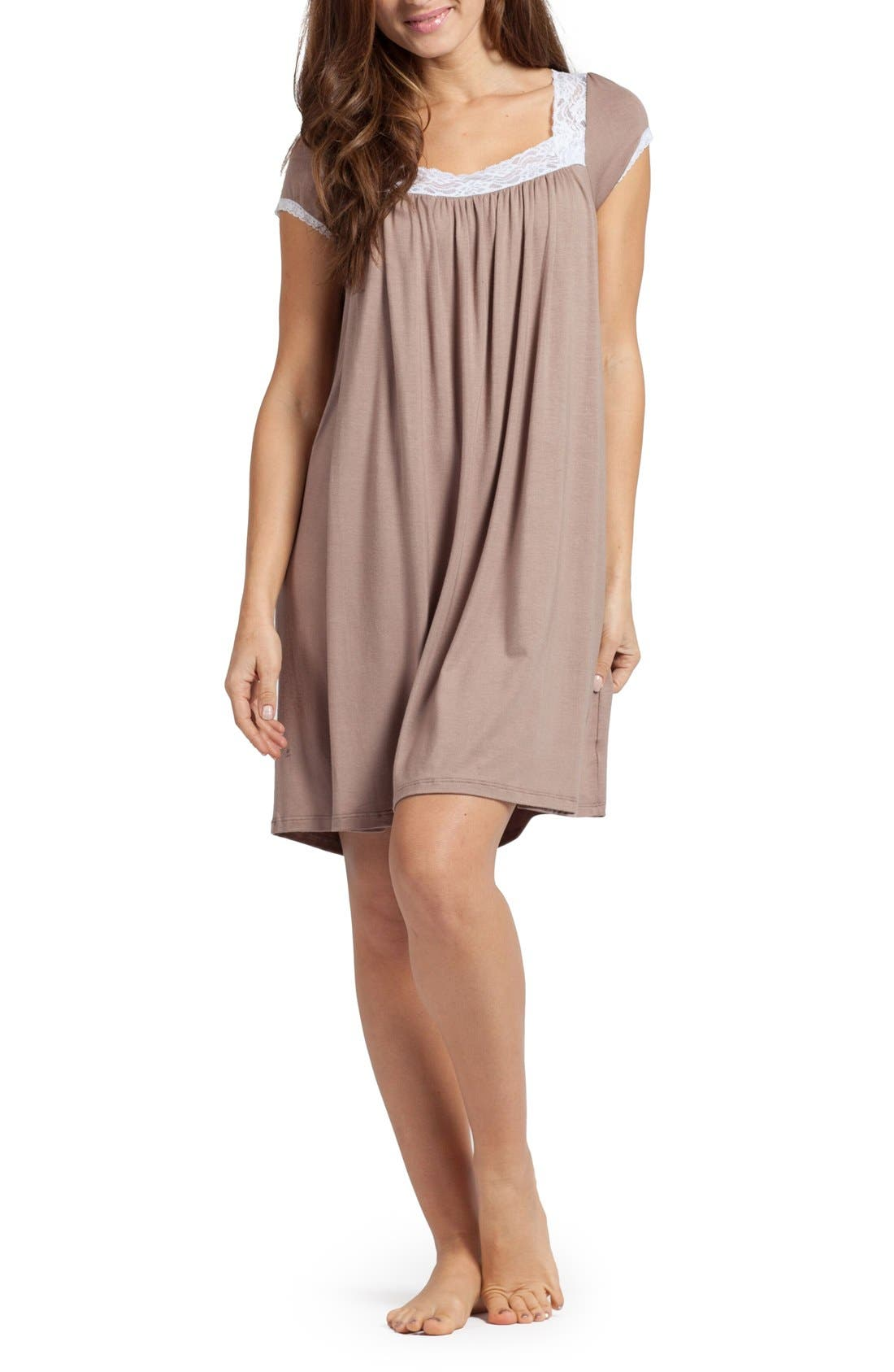 'The Lace' Maternity/Nursing Nightgown,                         Main,                         color, Mocha