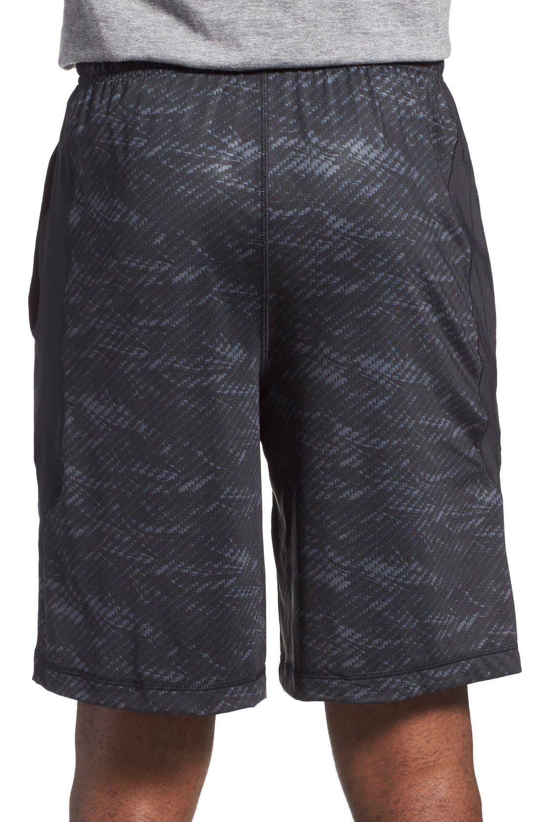 'Raid' HeatGear<sup>®</sup> Loose Fit Athletic Shorts,                             Alternate thumbnail 2, color,                             Black/ Black/ Steel