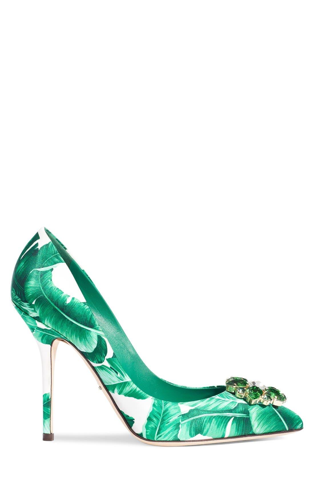 Alternate Image 4  - Dolce&Gabbana Banana Leaf Pointy Toe Pump (Women)