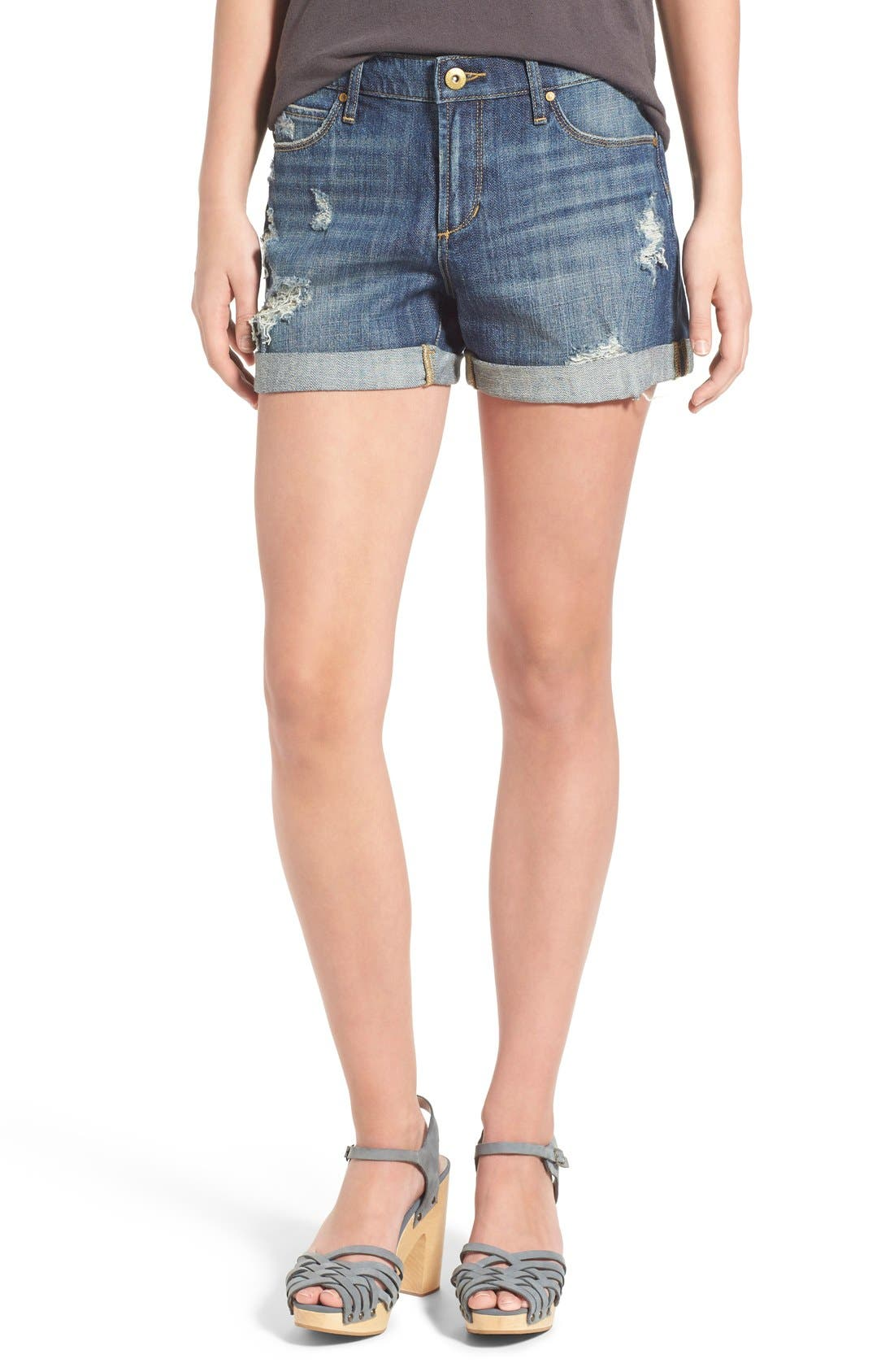Main Image - Articles of Society 'Jimmy' Distressed Denim Shorts (Buffet)