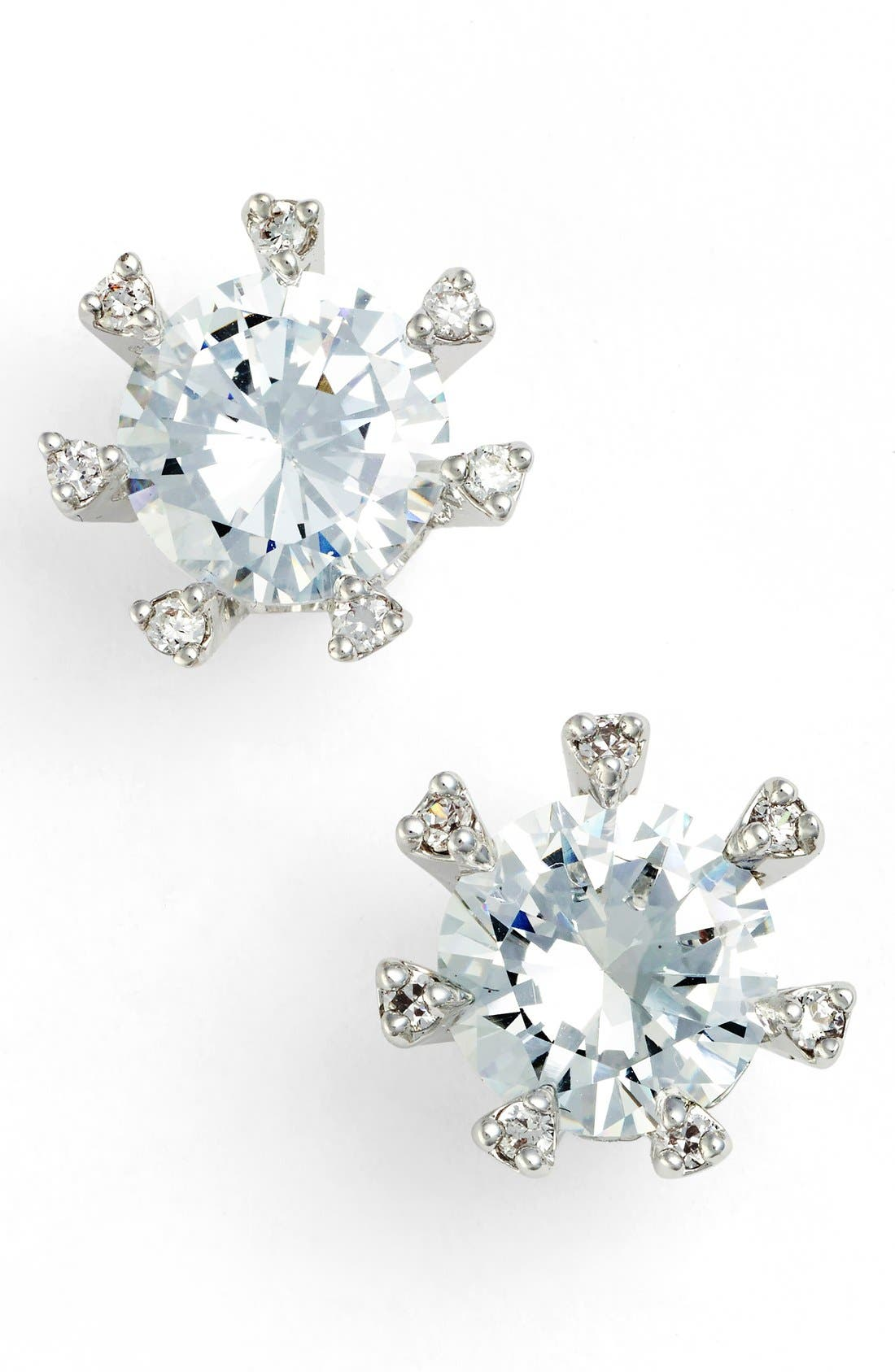 Embellished Prong Cubic Zirconia Stud Earrings,                         Main,                         color, Silver