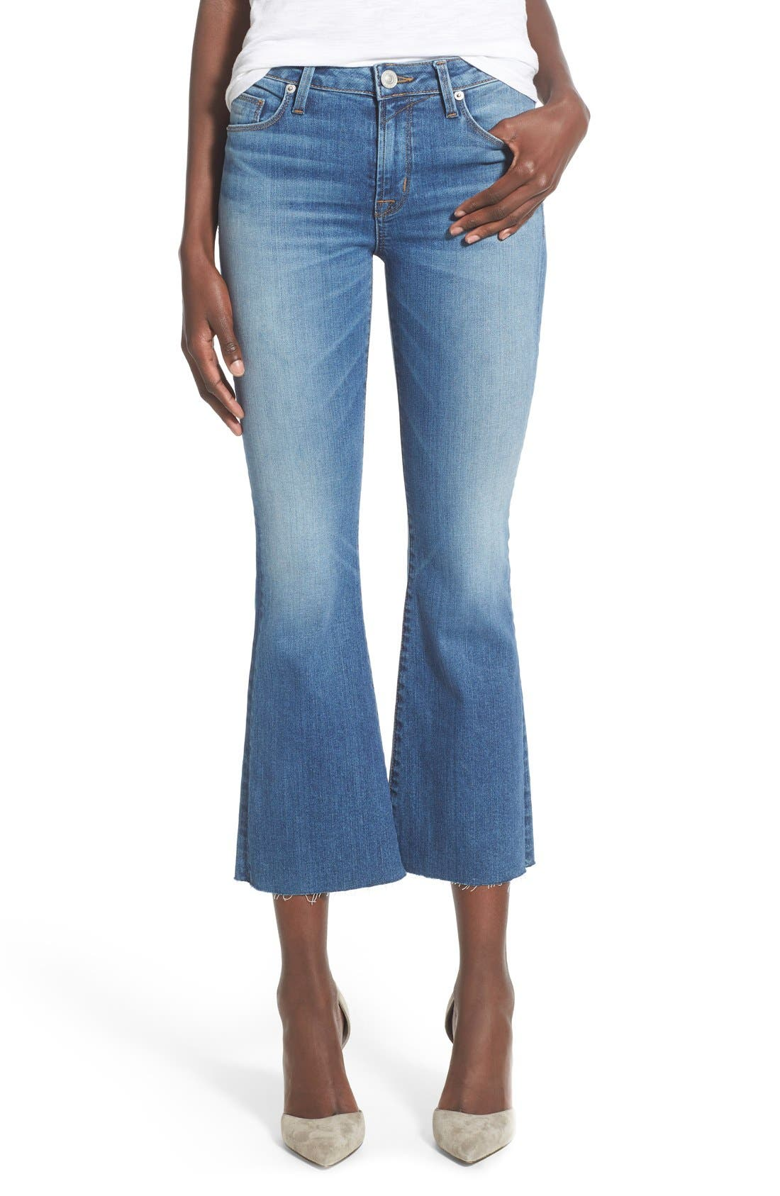 Alternate Image 1 Selected - Hudson Jeans 'Mia' Raw Hem Crop Flare Jeans (Carve)