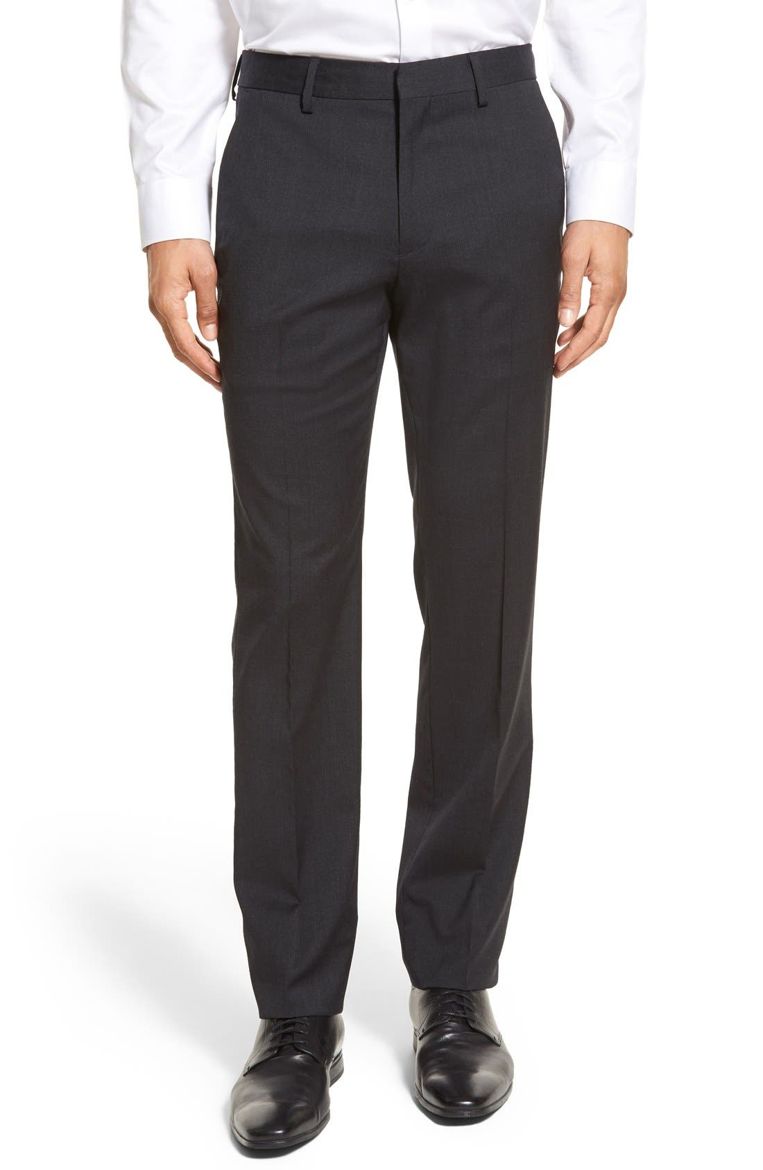 Bonobos Jetsetter Slim Fit Flat Front Solid Stretch Wool Trousers