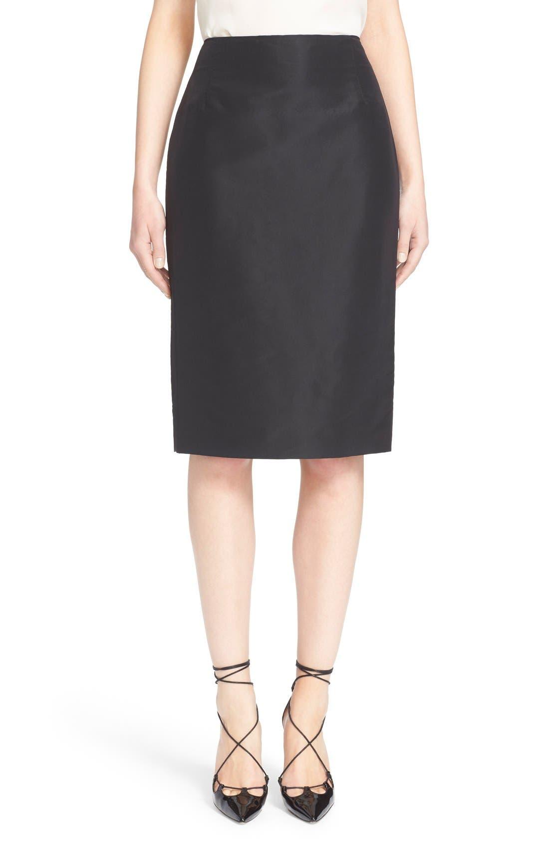 Silk Pencil Skirt,                         Main,                         color, Black