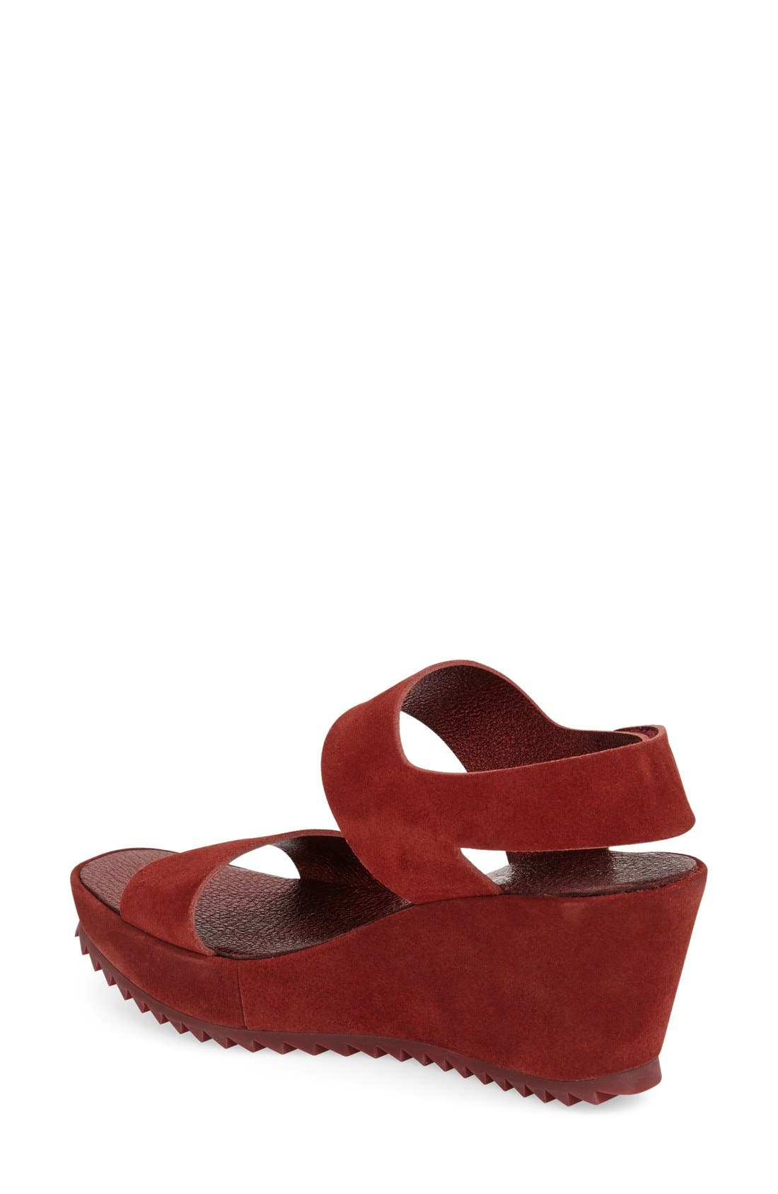 'Fiona' Wedge Sandal,                             Alternate thumbnail 2, color,                             Red Leather