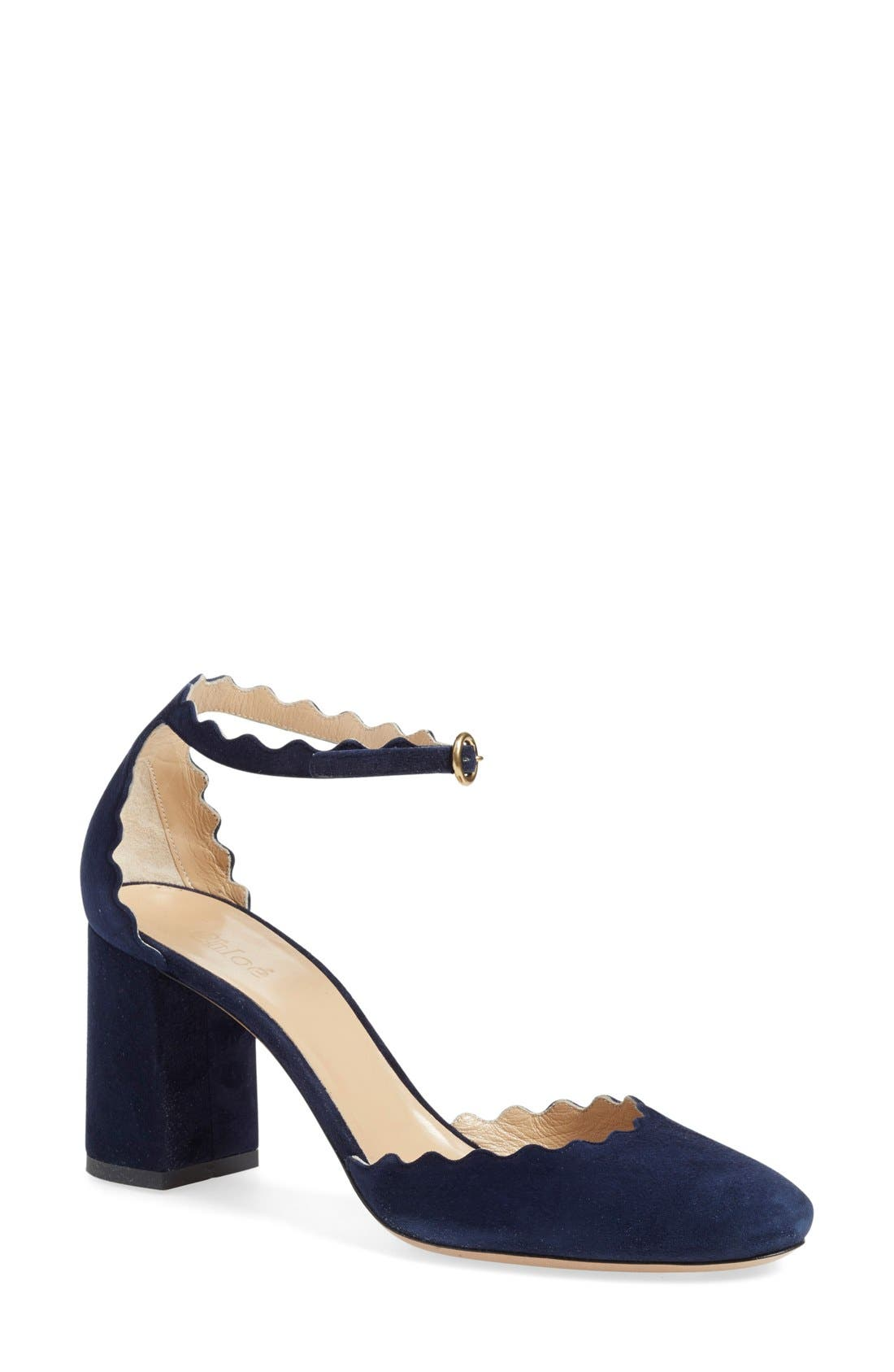 Alternate Image 1 Selected - Chloé Scalloped Ankle Strap d'Orsay Pump (Women)