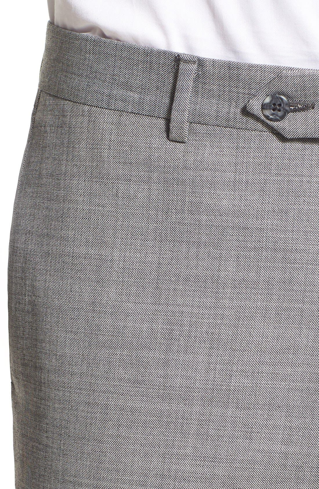 Alternate Image 5  - Nordstrom Men's Shop Flat Front Sharkskin Wool Trousers