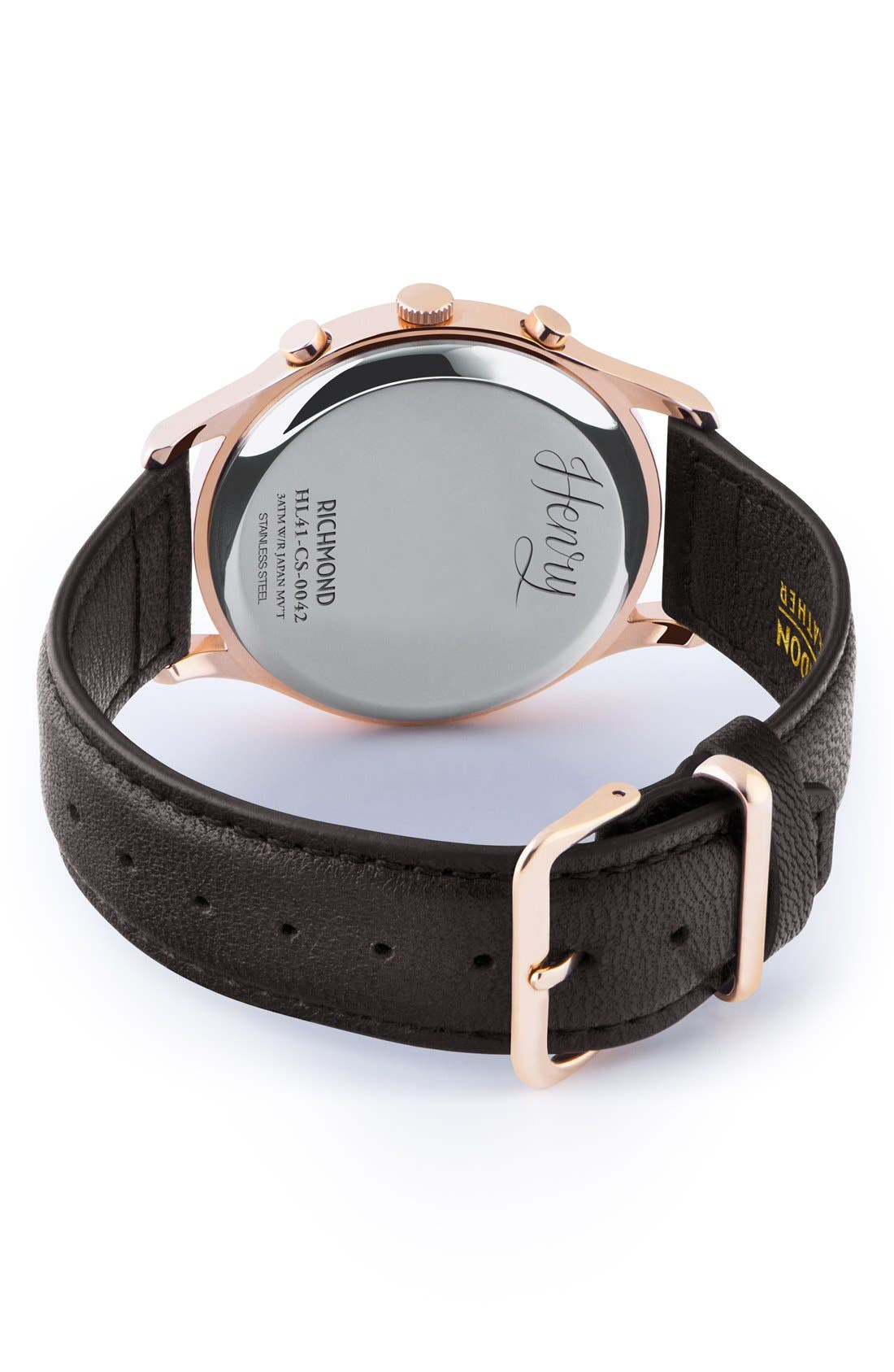 'Richmond' Chronograph Leather Strap Watch, 41mm,                             Alternate thumbnail 3, color,                             Black/ Black