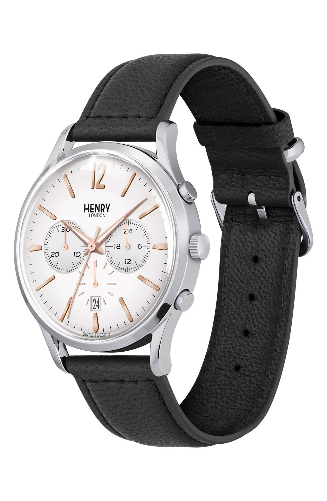 'Highgate' Chronograph Leather Strap Watch, 41mm,                             Alternate thumbnail 2, color,                             Black/ White