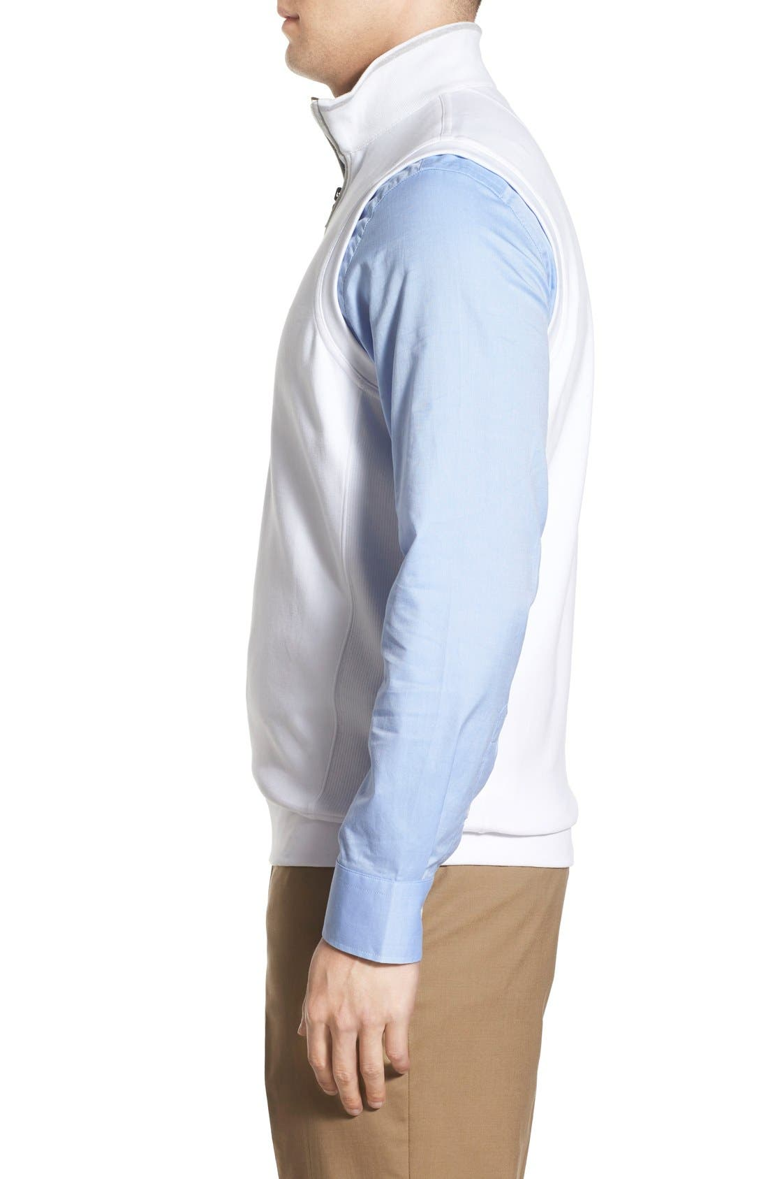 Leaderboard Quarter Zip Pima Cotton Vest,                             Alternate thumbnail 3, color,                             White
