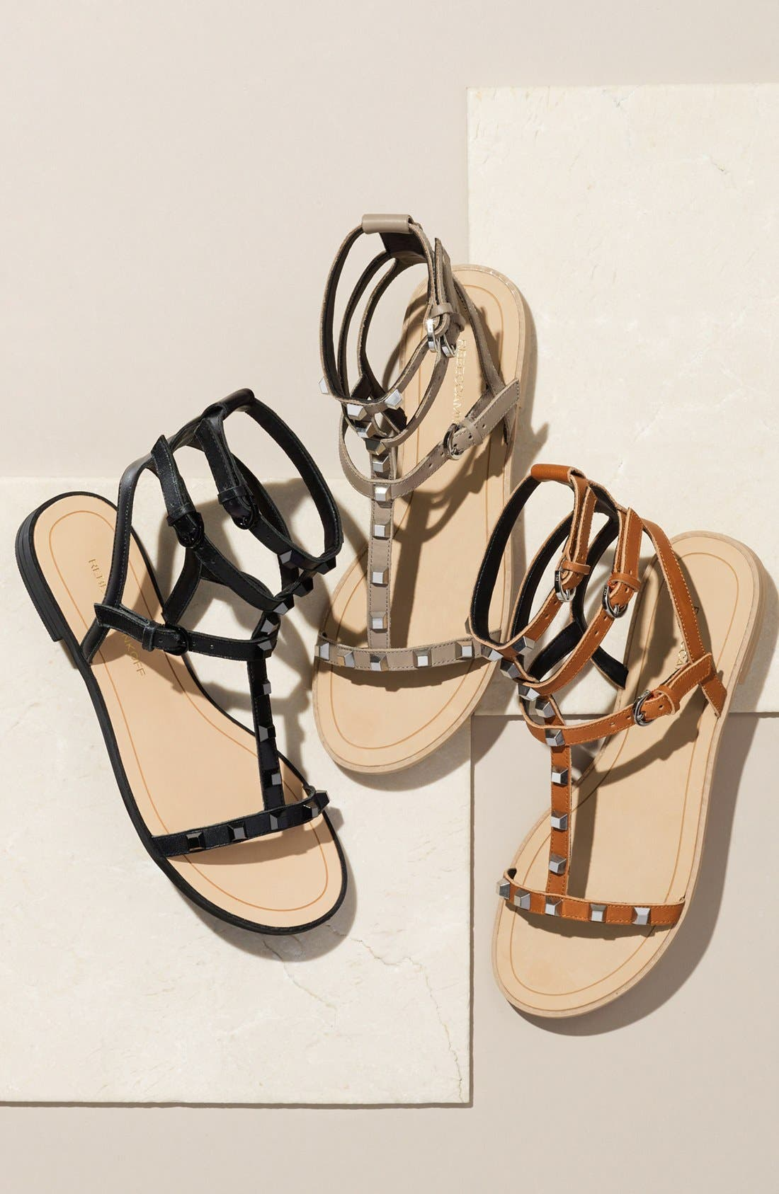 'Georgina' Studded Leather Sandal,                             Alternate thumbnail 5, color,