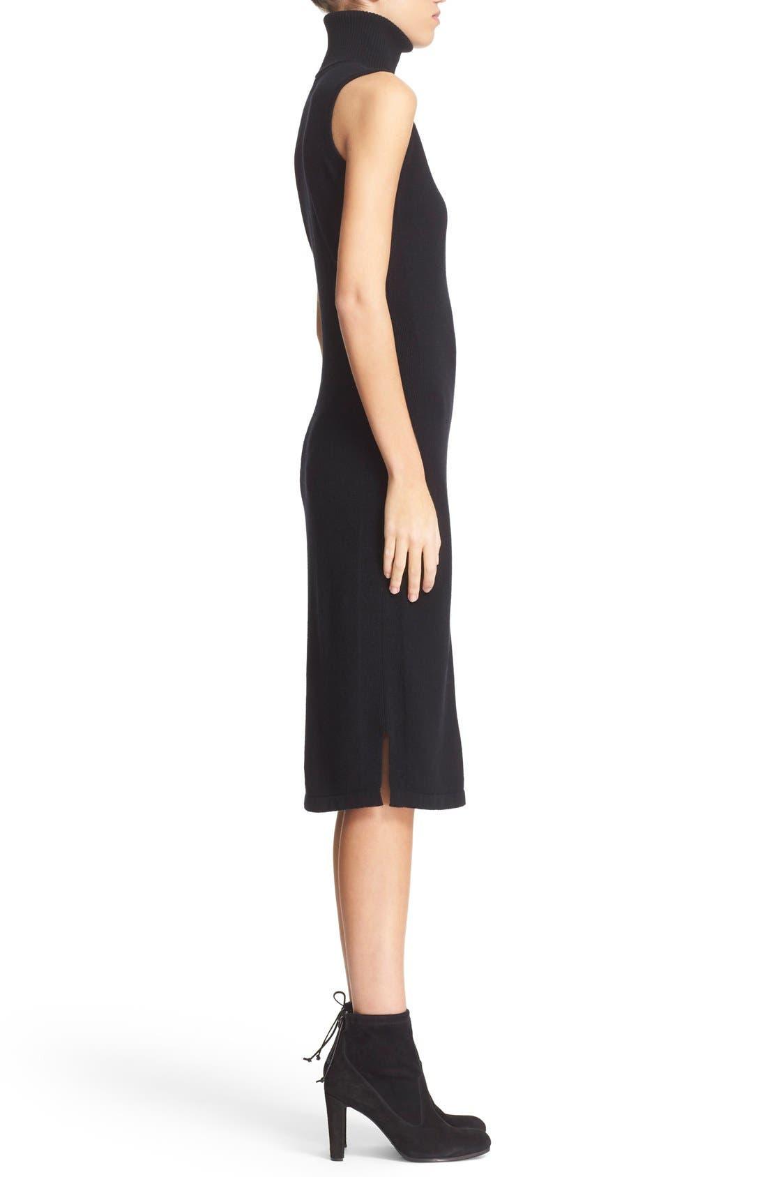 Sleeveless Turtleneck Cashmere Sheath Dress,                             Alternate thumbnail 3, color,                             Black