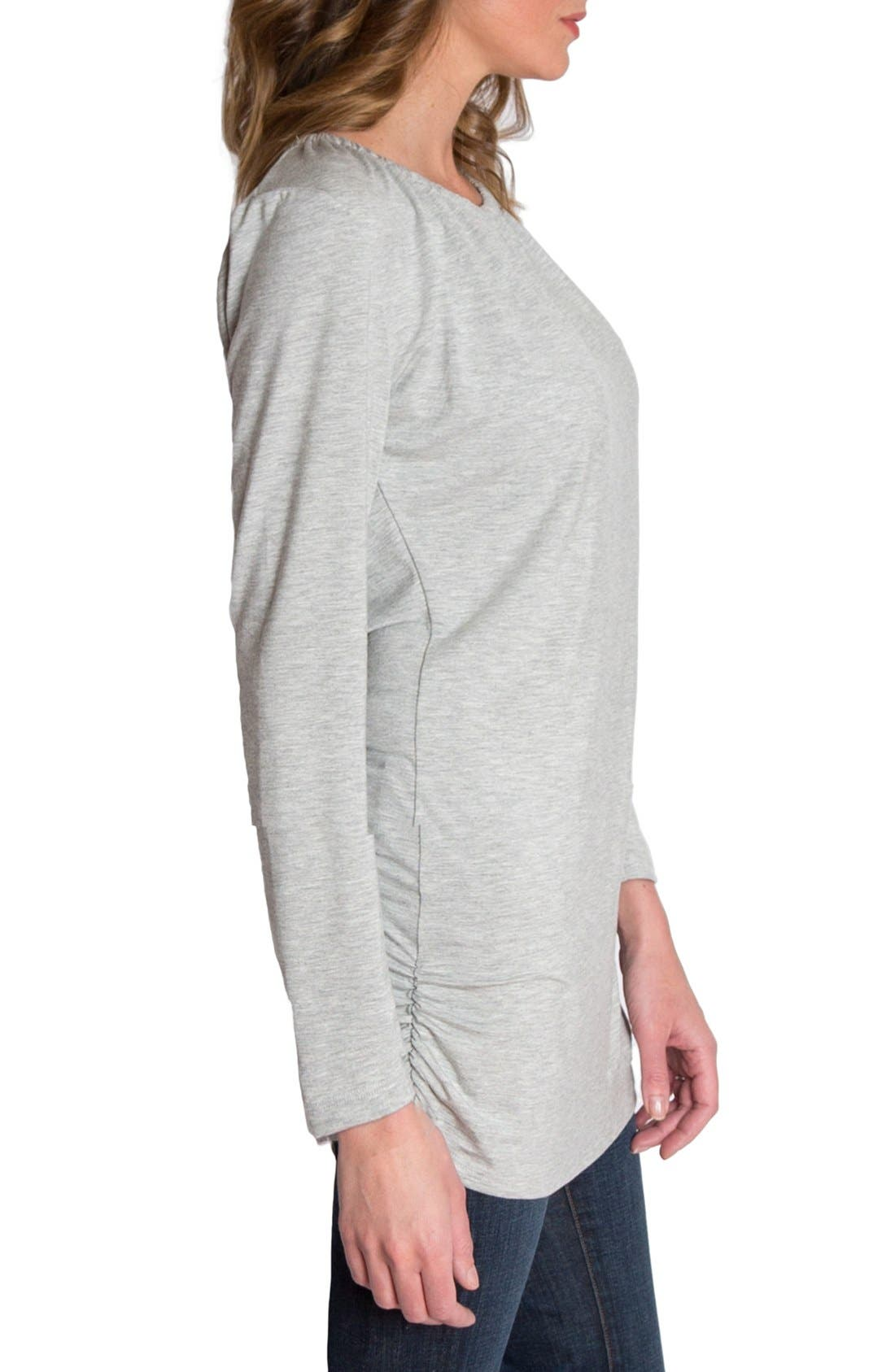 'Luxe' Long Sleeve Nursing Tee,                             Alternate thumbnail 3, color,                             Heather Gray