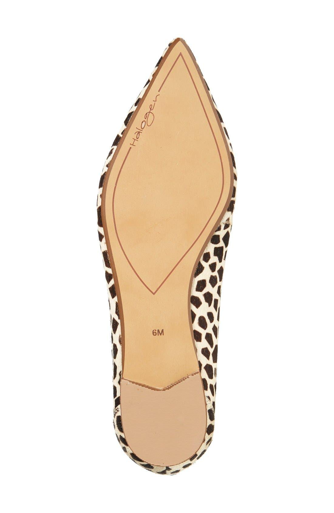 Alternate Image 4  - Halogen® 'Owen' Genuine Calf Hair Pointy Toe Ghillie Flat (Women)