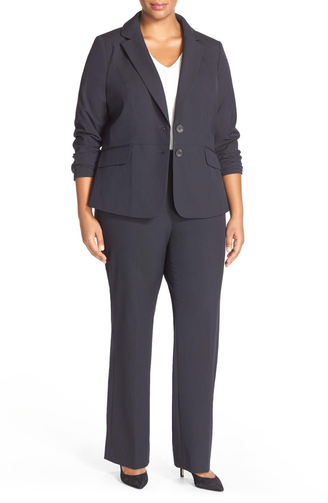Alternate Image 5  - Sejour 'Ela' Stretch Curvy Fit Wide Leg Suit Pants (Plus Size & Petite Plus)