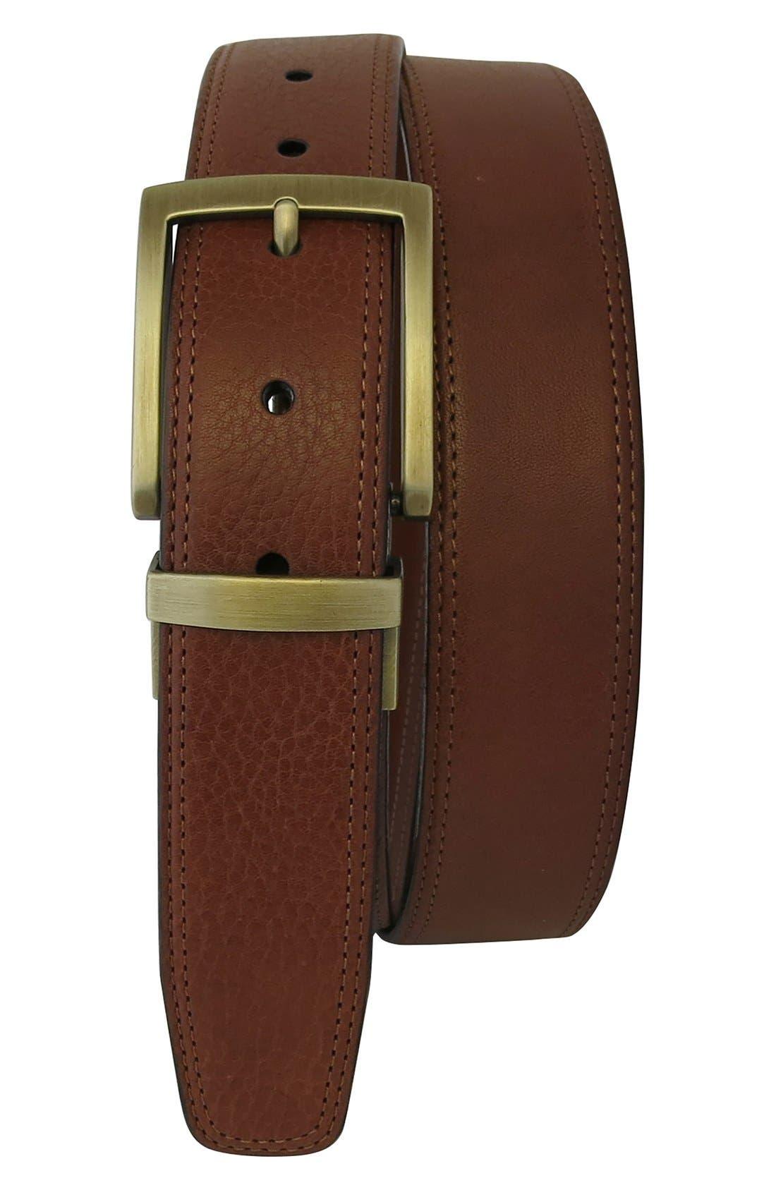Reversible Leather Belt,                             Main thumbnail 1, color,                             Cognac/ Tan