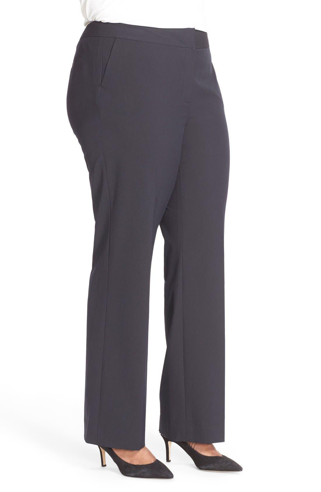 Alternate Image 3  - Sejour 'Ela' Stretch Curvy Fit Wide Leg Suit Pants (Plus Size & Petite Plus)