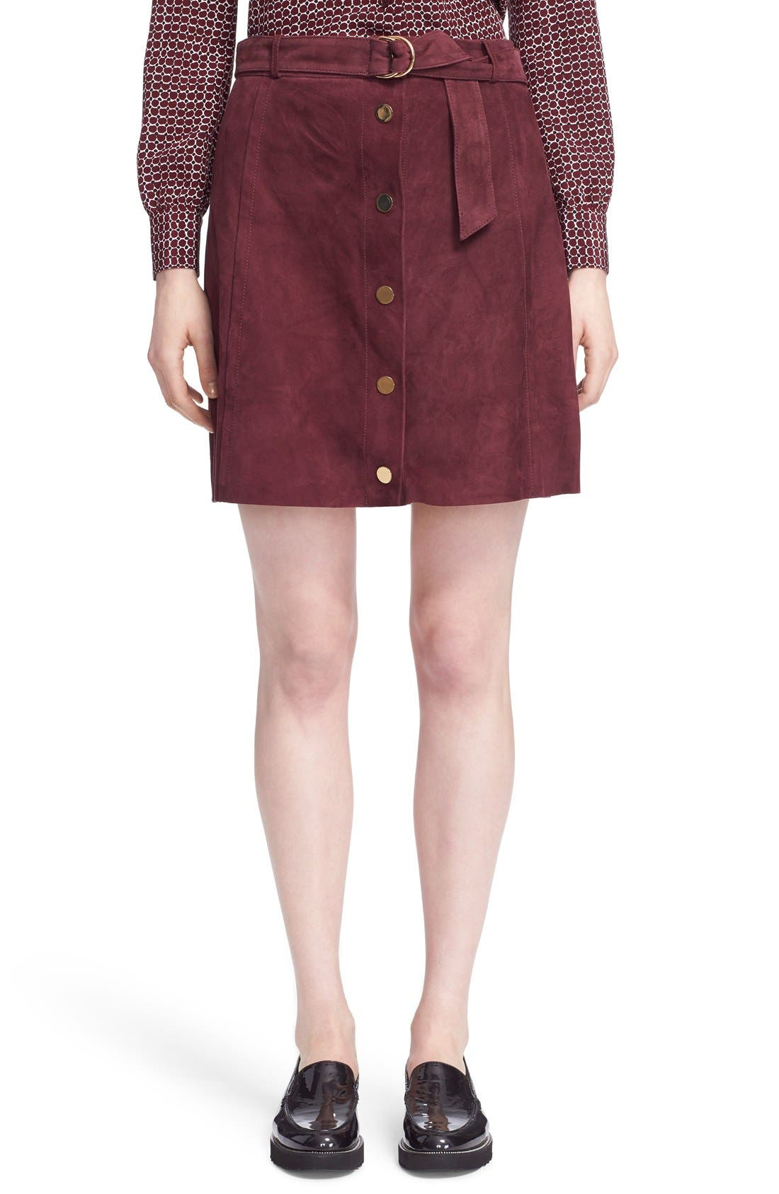 belted suede a-line skirt,                             Main thumbnail 1, color,                             Midnight Wine