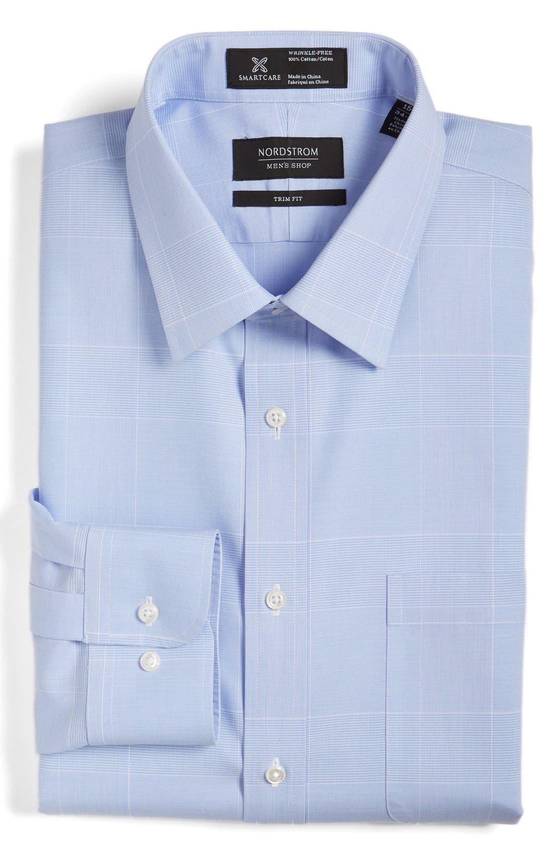 Smartcare<sup>™</sup> Trim Fit Plaid Dress Shirt,                             Alternate thumbnail 6, color,                             Blue Hydrangea