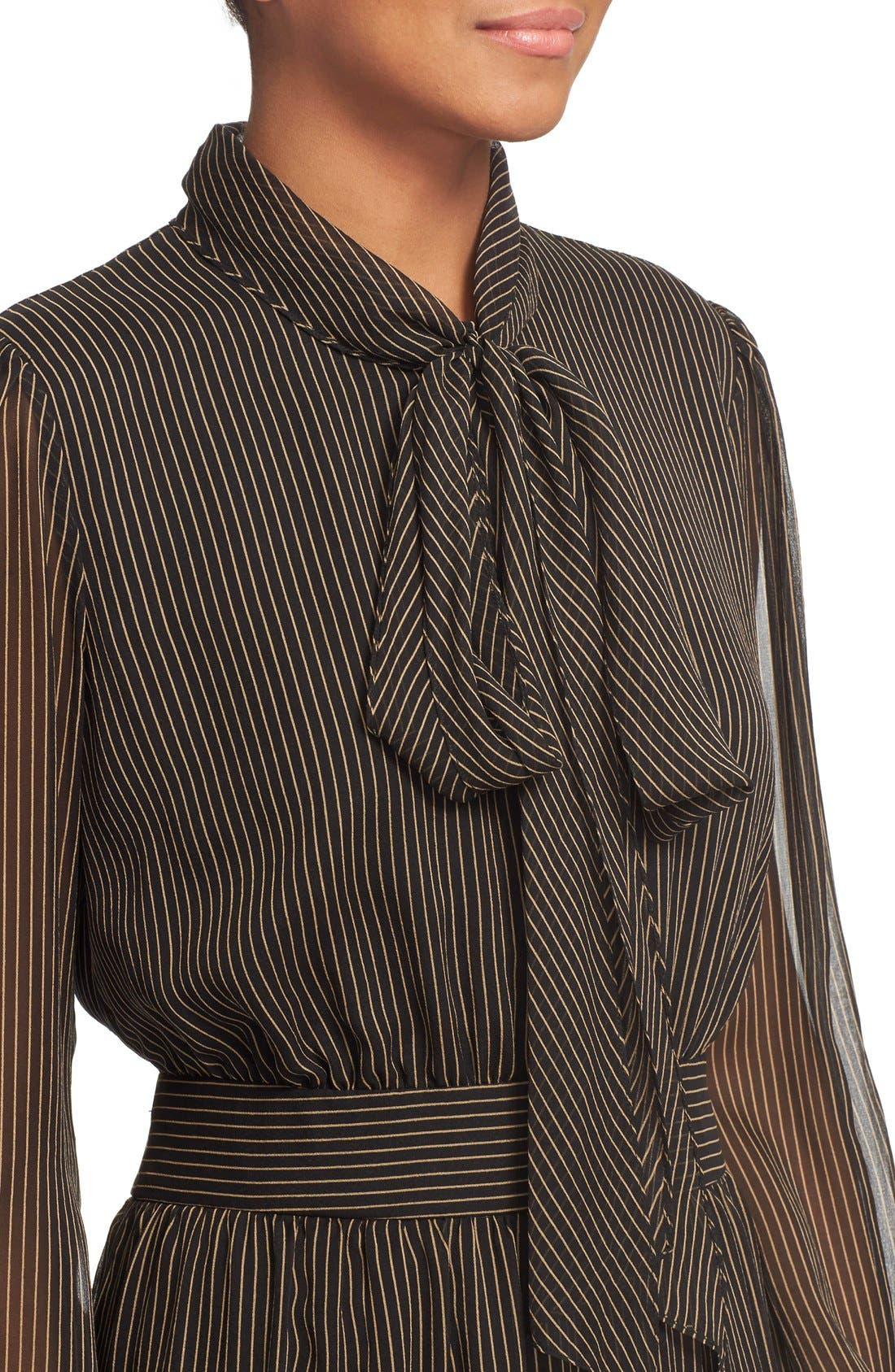 Alternate Image 4  - Diane von Furstenberg 'Arabella' Pinstripe Silk Dress